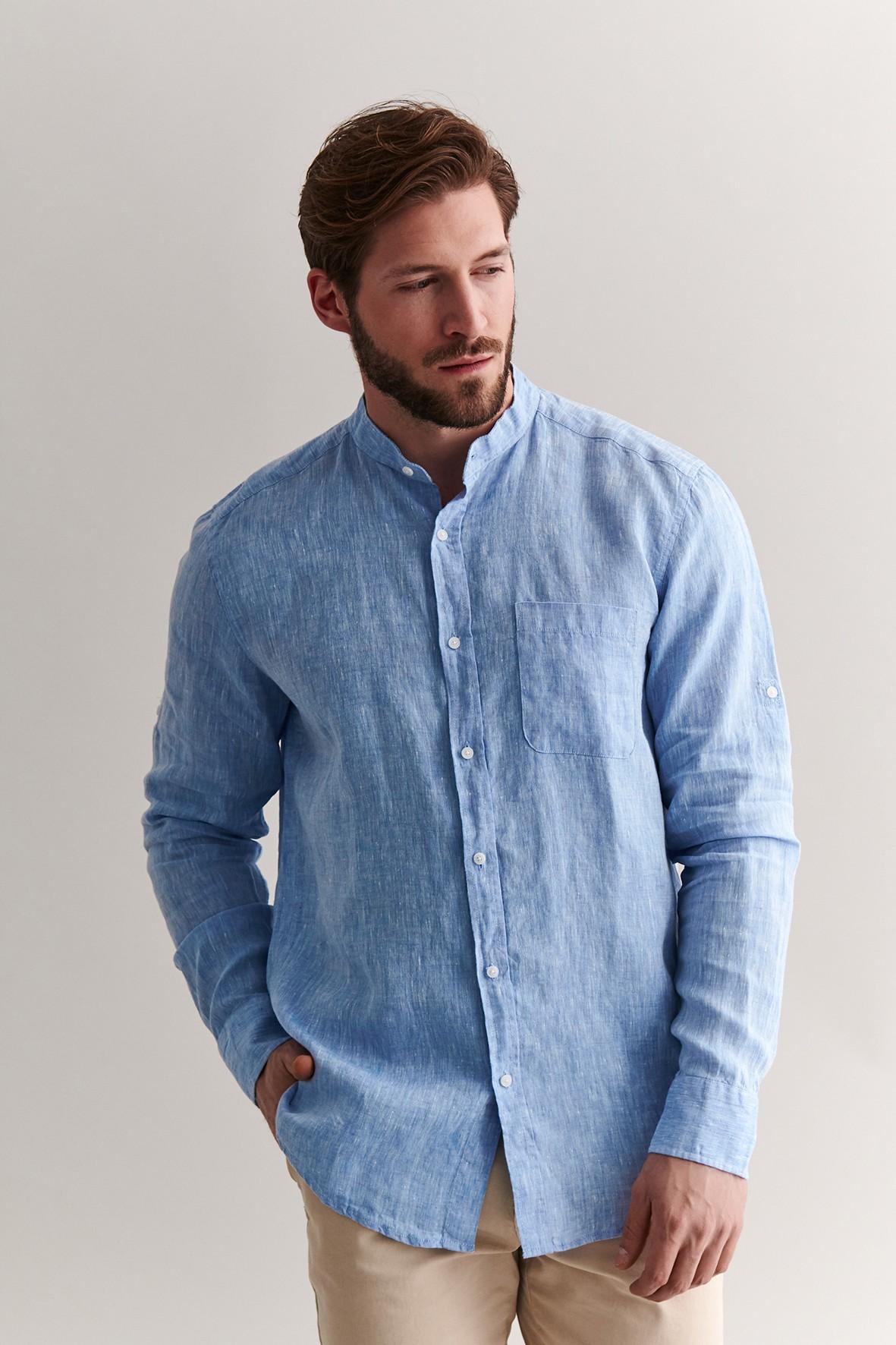 Lniana koszula męska - niebieska
