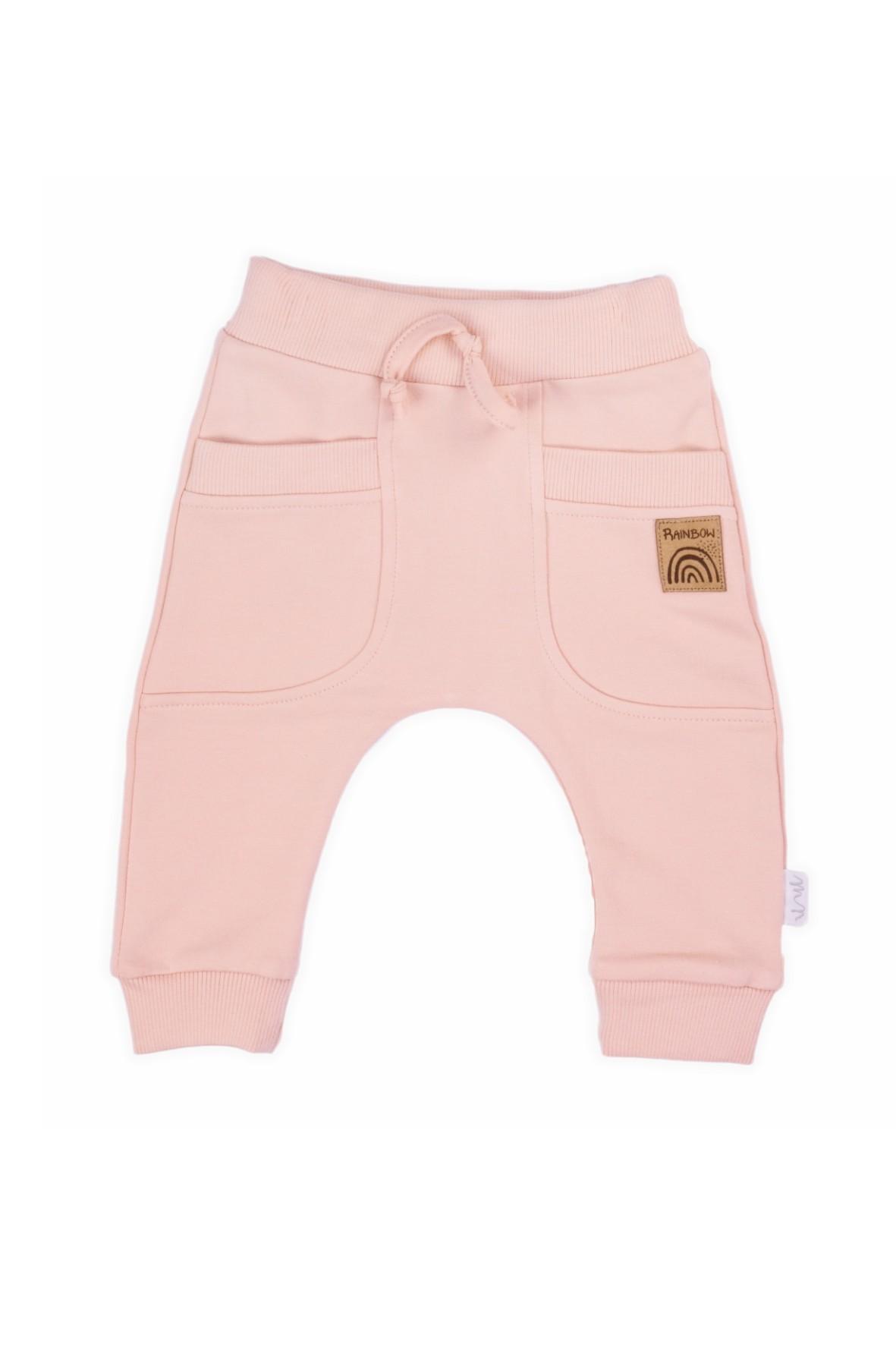 Spodnie dresowe typu baggy pudrowy róż- Rainbow