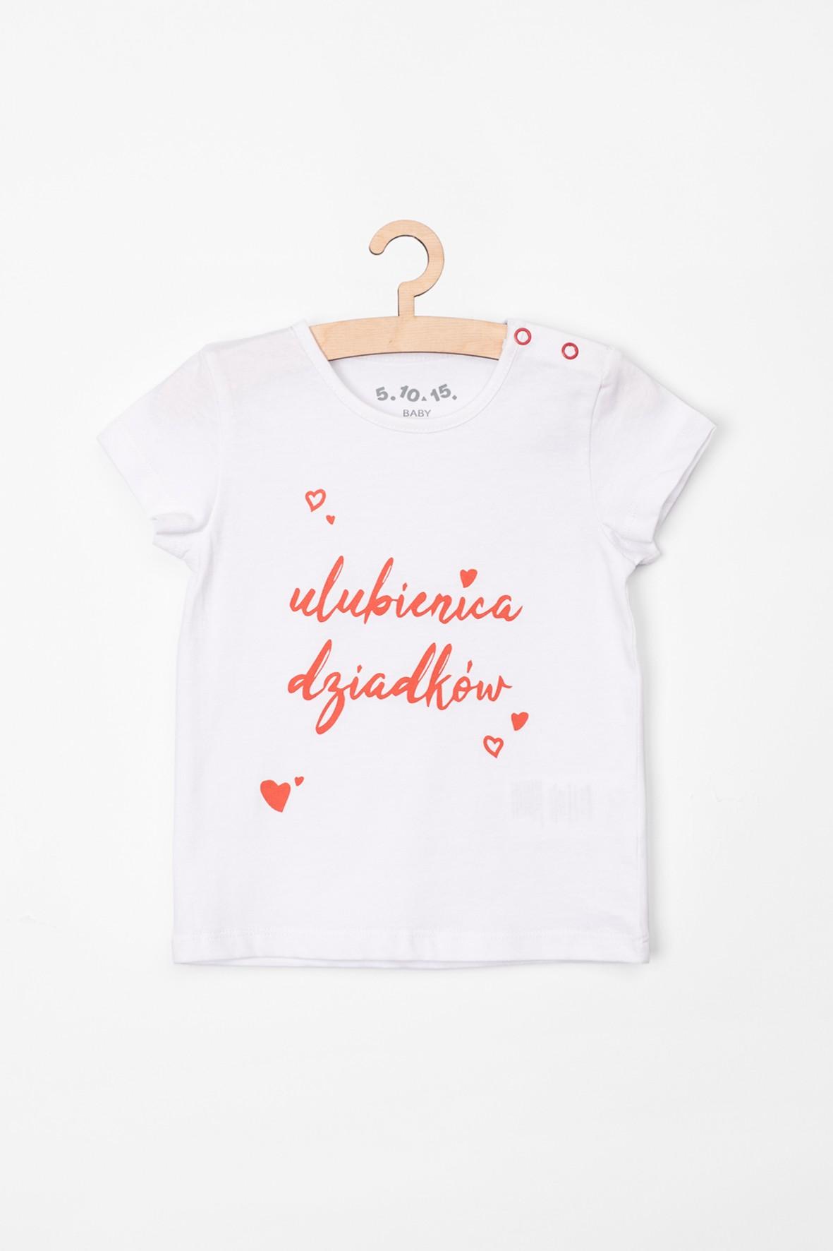 T-shirt niemowlęcy biały z napisem Ulubienica Dziadków