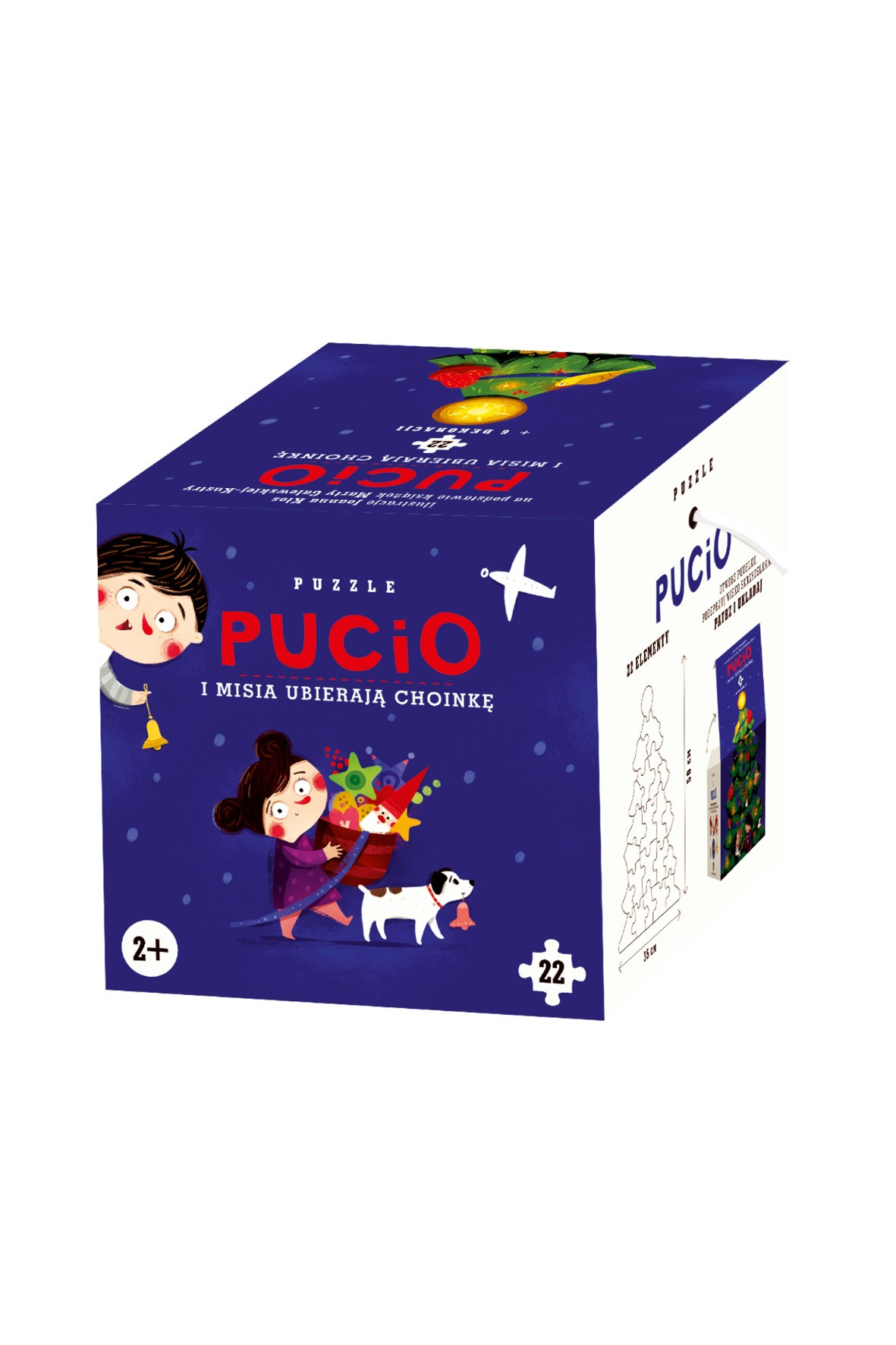 Puzzle Pucio i Misia ubierają choinkę 2+