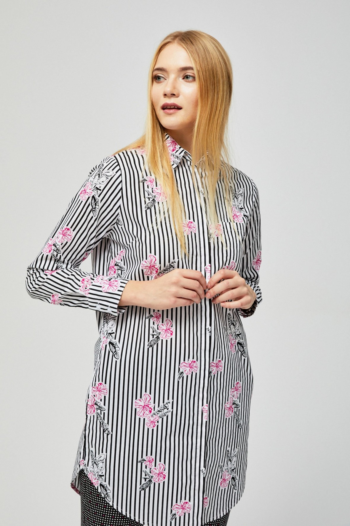 Długa koszula damska w paski