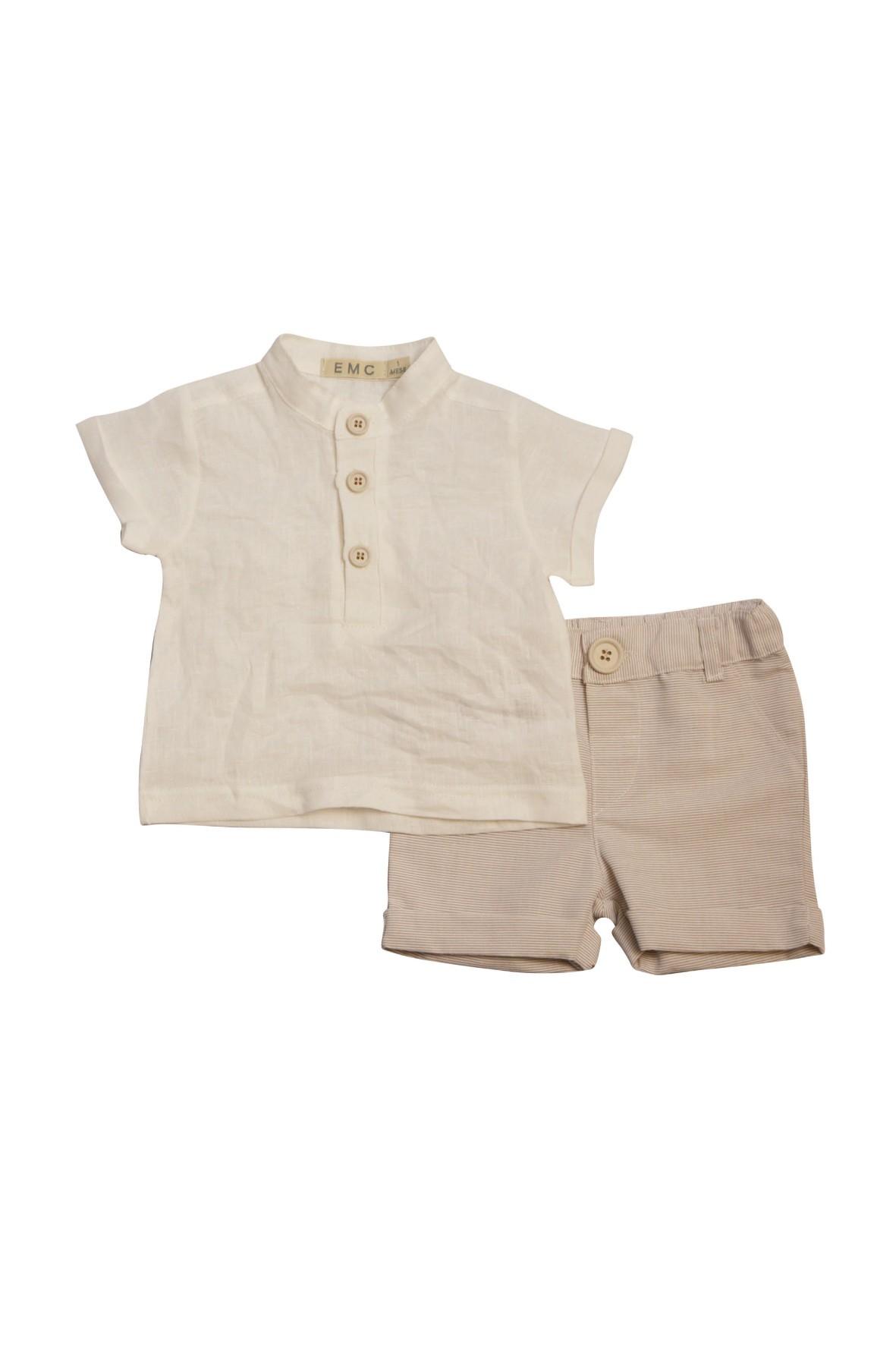 Komplet lnianych ubrań na lato dla niemowlaka