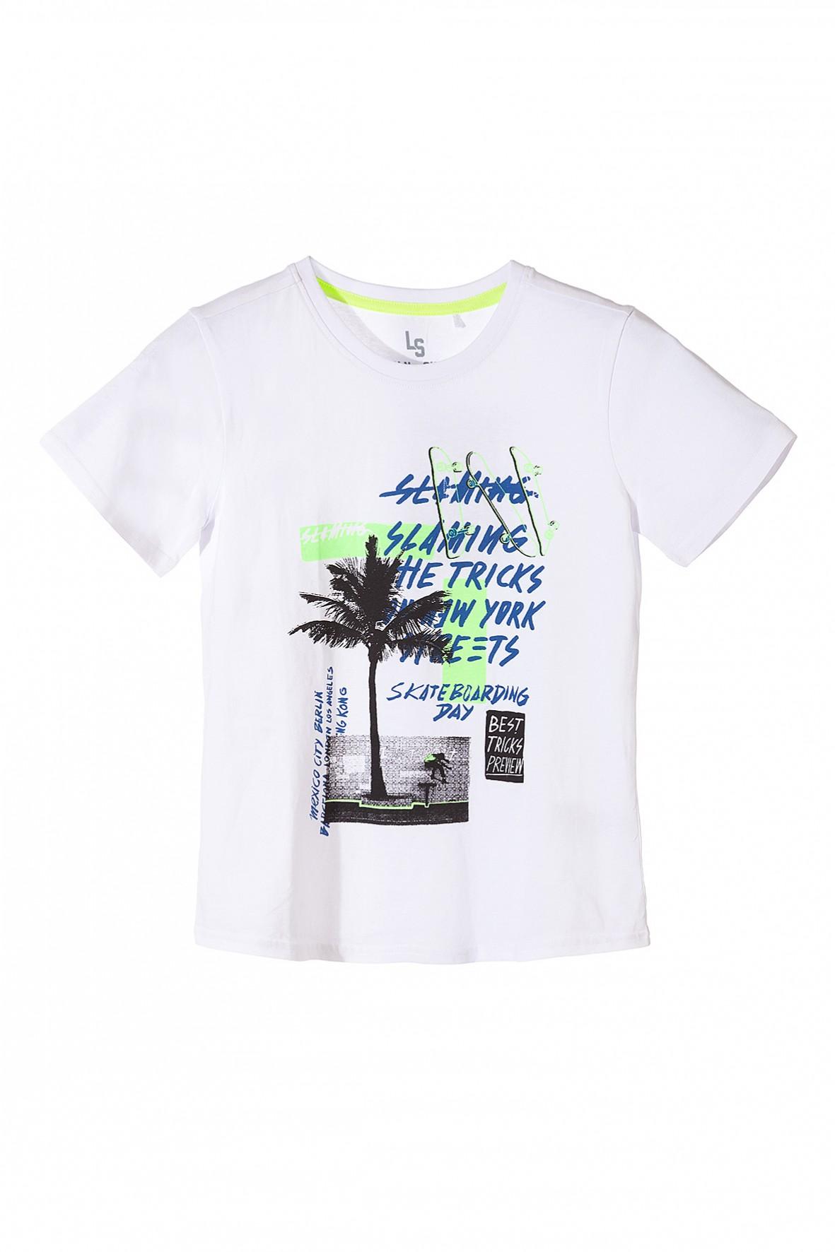 Bawełniany t-shirt chłopięcy z nadrukami Skate