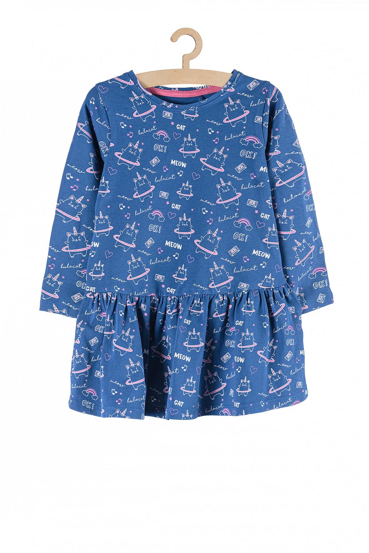 Sukienka dzianinowa niebieska w kotorożce