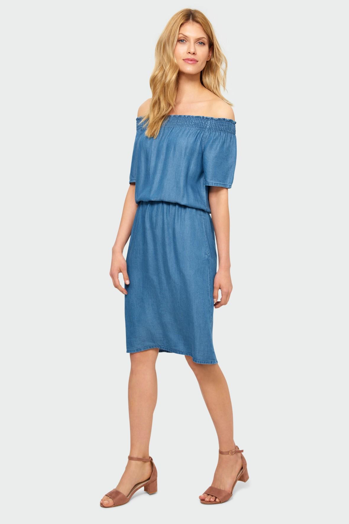 Niebieska sukienka z lyocellu typu hiszpanka podkreślona talia