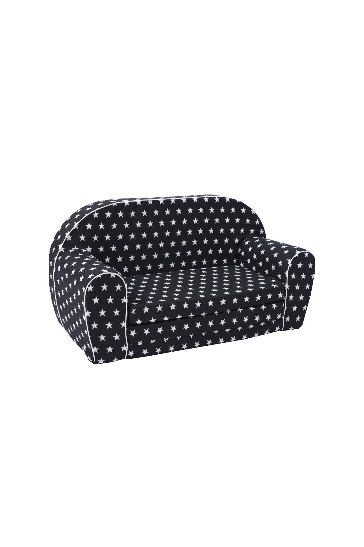 Czarna sofa w białe gwiazdki