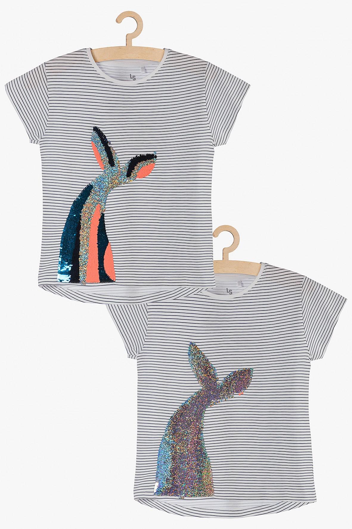 T-shirt w paski z odwracanymi cekinami -Syreni ogon