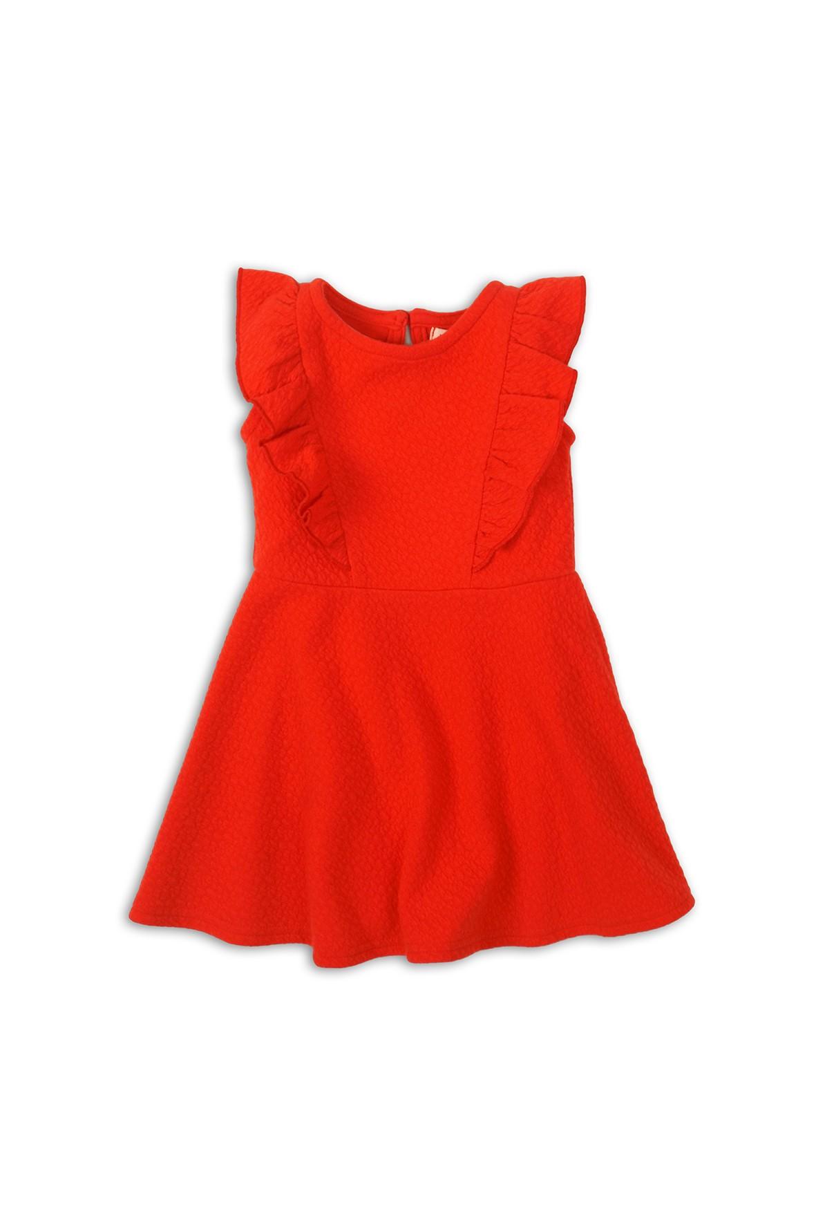 Sukienka czerwona elegancka z falbanka  z przodu