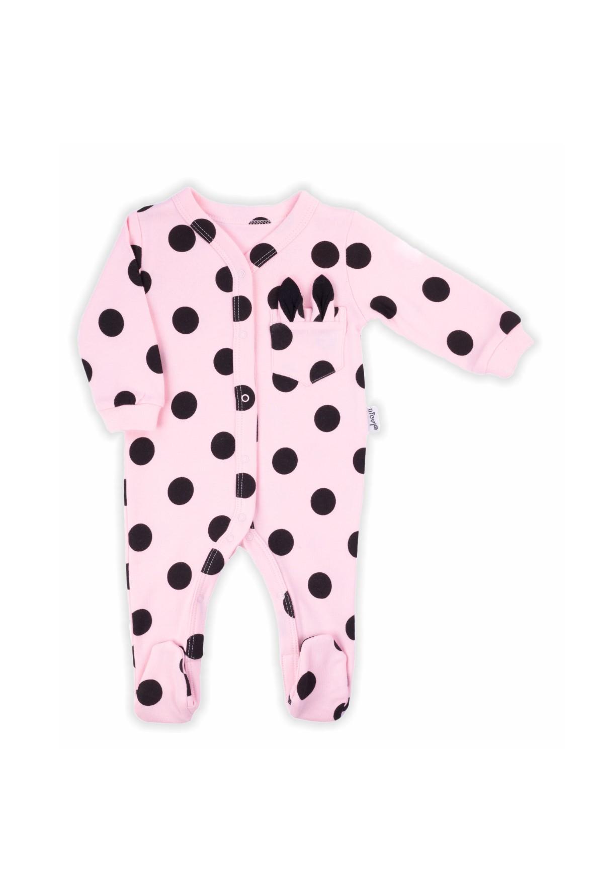Bawełniany pajac niemowlęcy w grochy- różowy