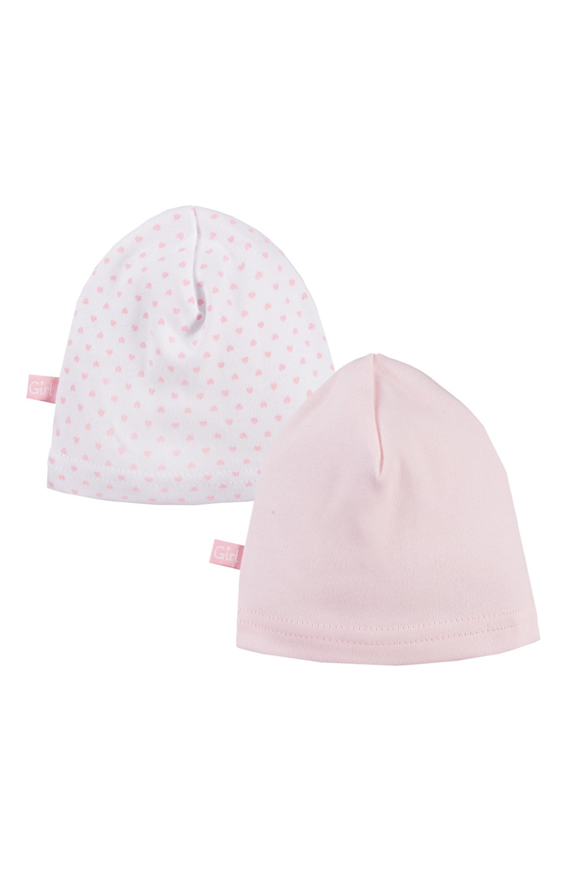 Bawełniane czapki niemowlęce 2pak - różowe