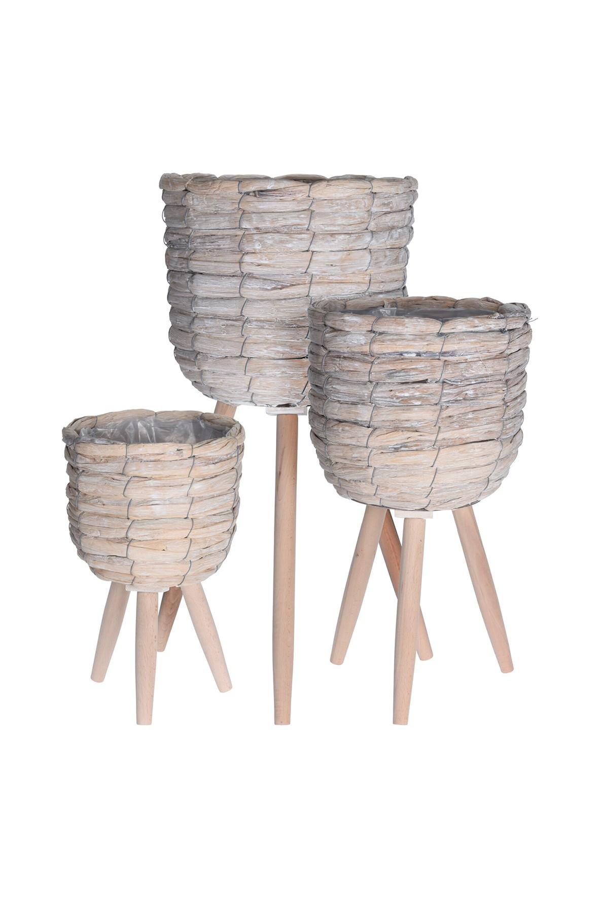 Donice drewniane na 3 nogach - 3szt