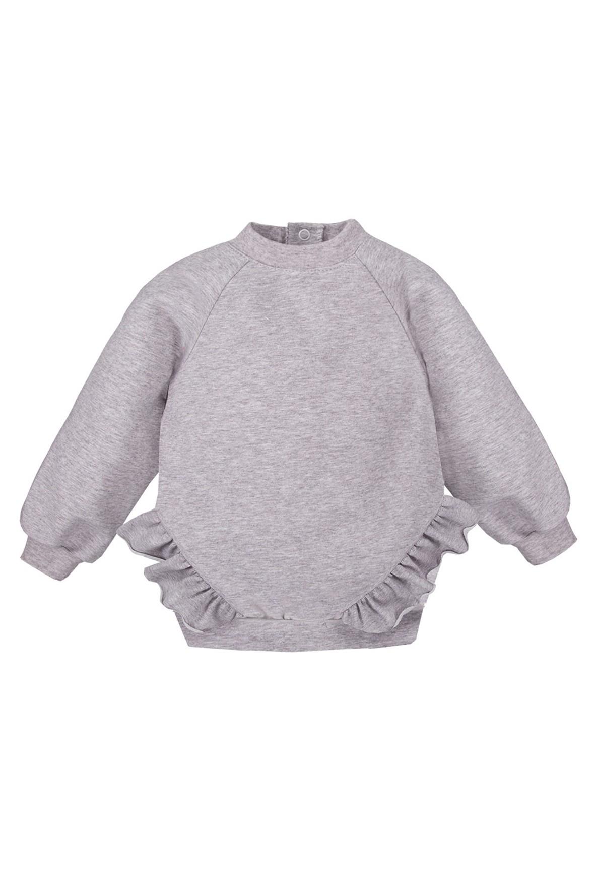 Bawełniana bluza z falbankami - szara