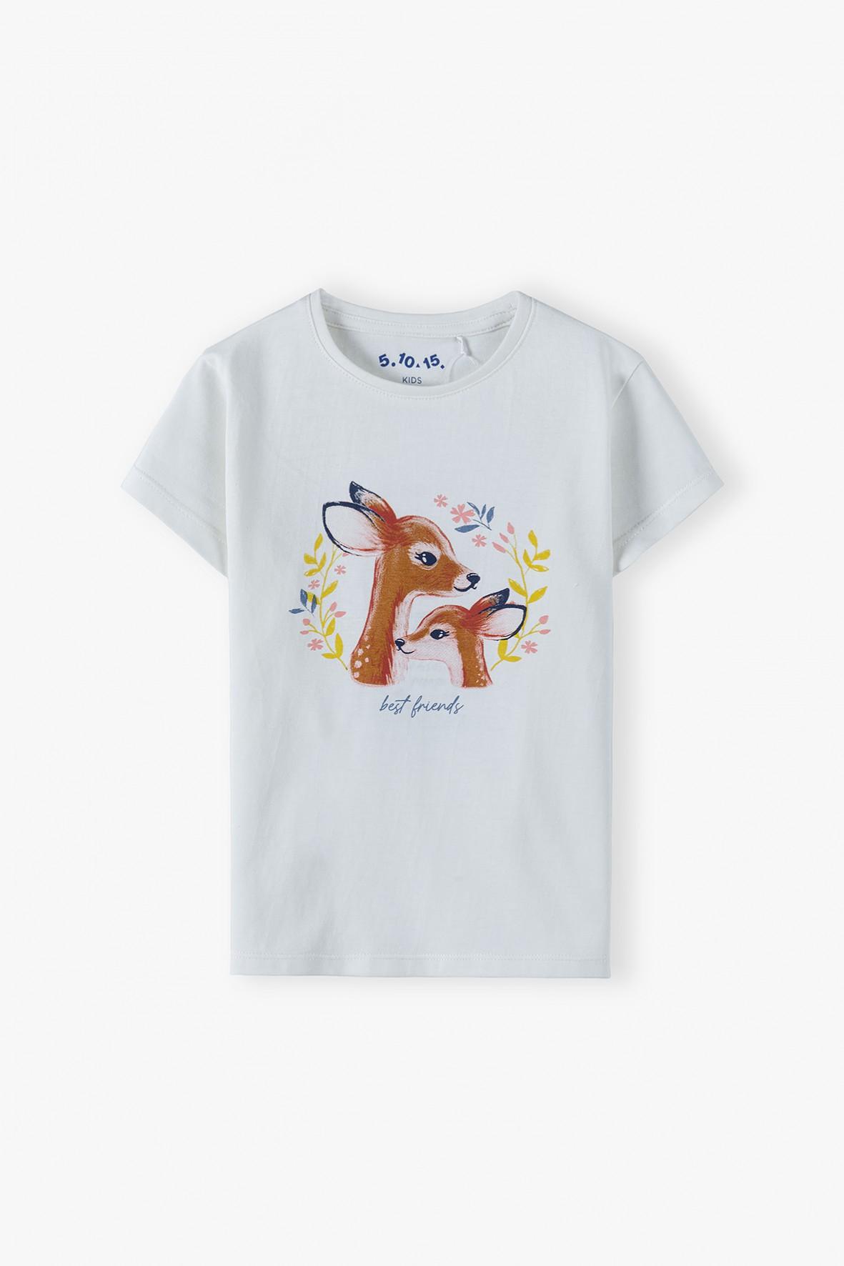 Bawełniany t-shirt dziewczęcy z sarenkami