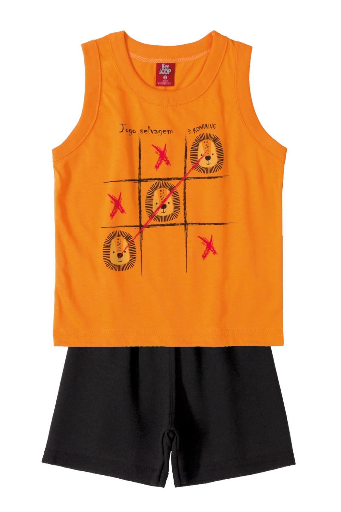 Pomarańczowa koszulka i spodenki- komplet ubrań na lato