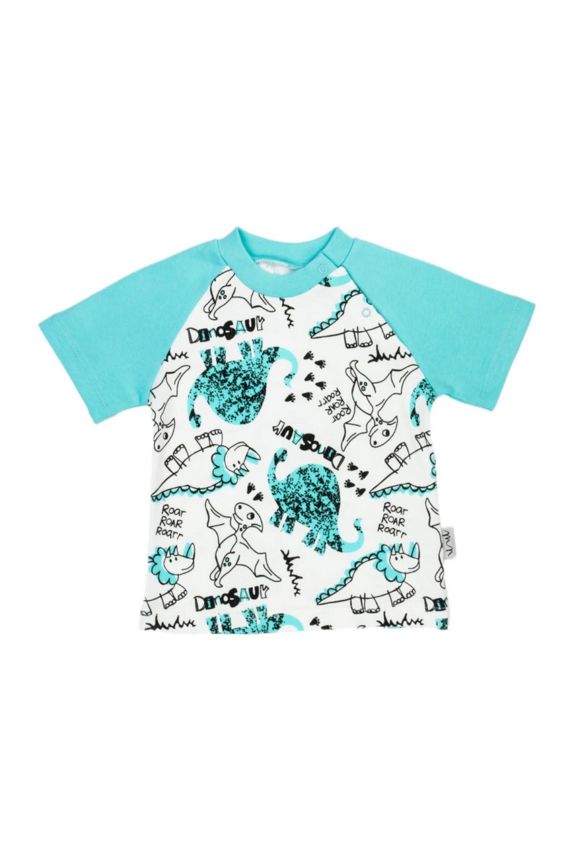 Koszulka chłopięca biała w dinozaury