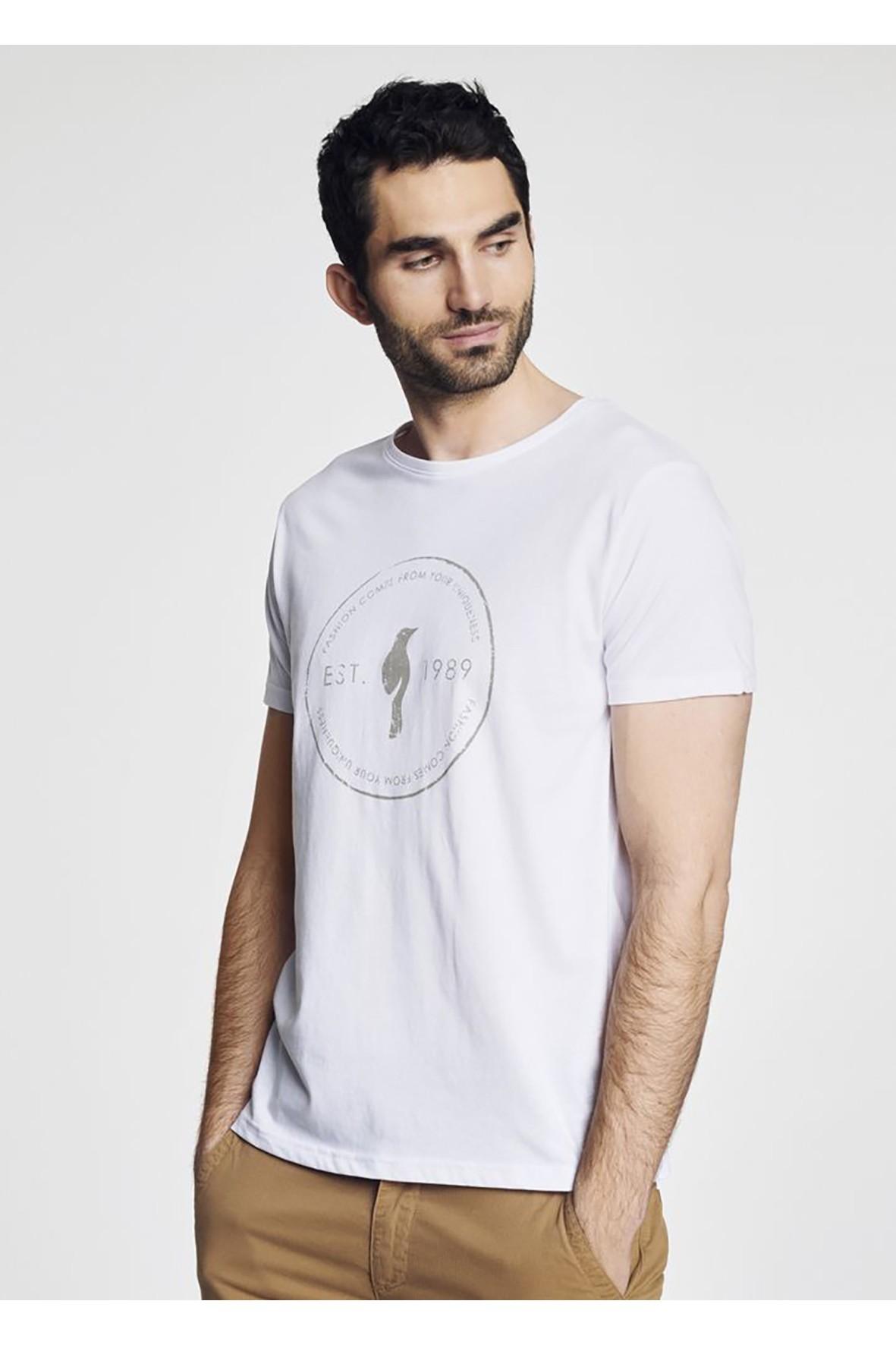 T-shirt męski biały OCHNIK