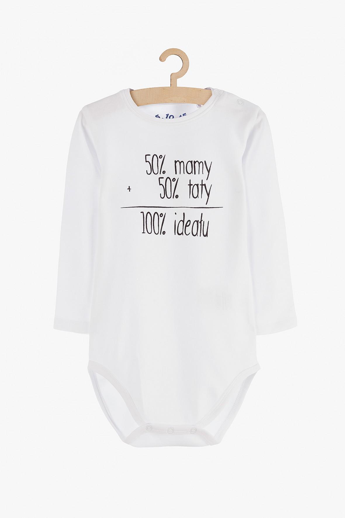 """Body niemowlęce z długim rękawem """"50% mamy, 50% taty..."""""""