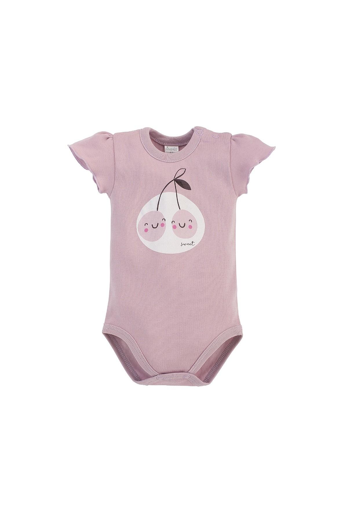 Body niemowlęce z krótkim rękawem z miękkiej, różowej bawełny z wisienkami