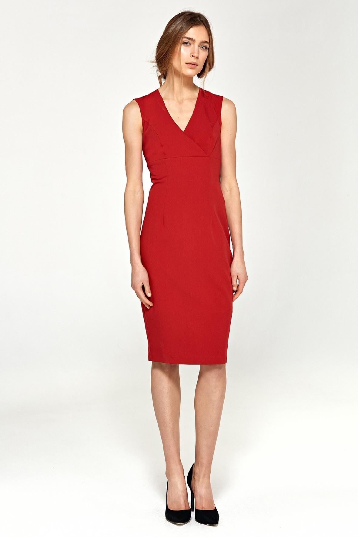 Sukienka damska czerwona ołówkowa z dekoltem V