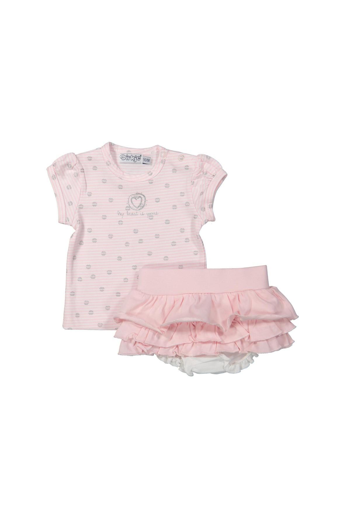 Komplet niemowlęcy t-shirt i spodenki z ozdobnymi falbankami