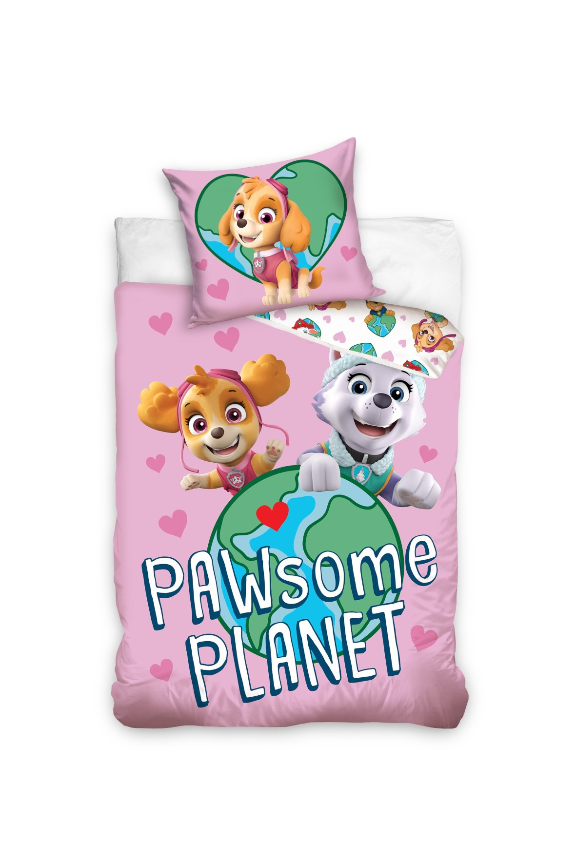 Komplet pościeli bawełnianej dla dziewczynki Psi Patrol 160x200+70x80 cm