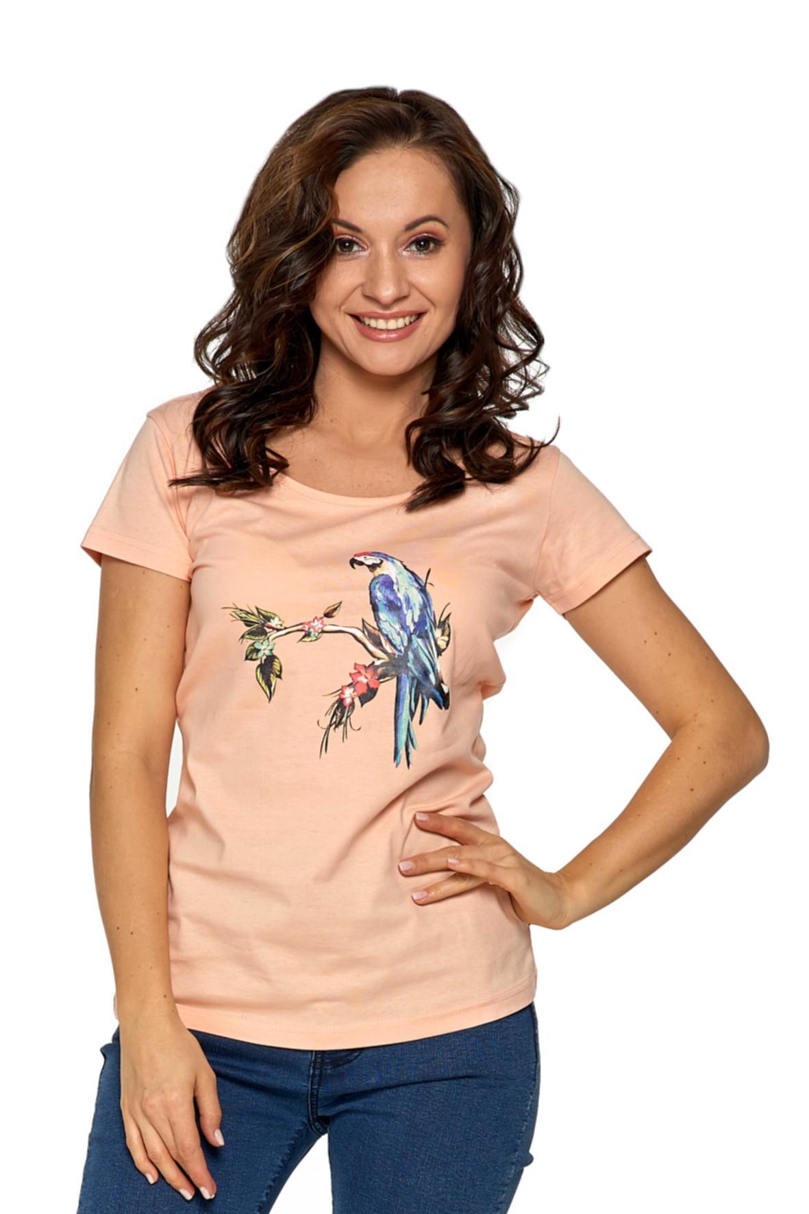 T-shirt damski z nadrukiem brzoskwiniowy