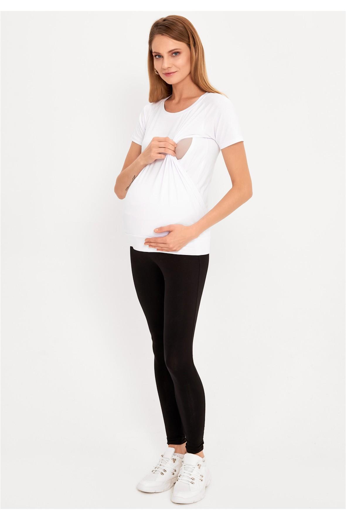 Biały t-shirt ciążowy i dla karmiącej mamy z miękkiego dżerseju