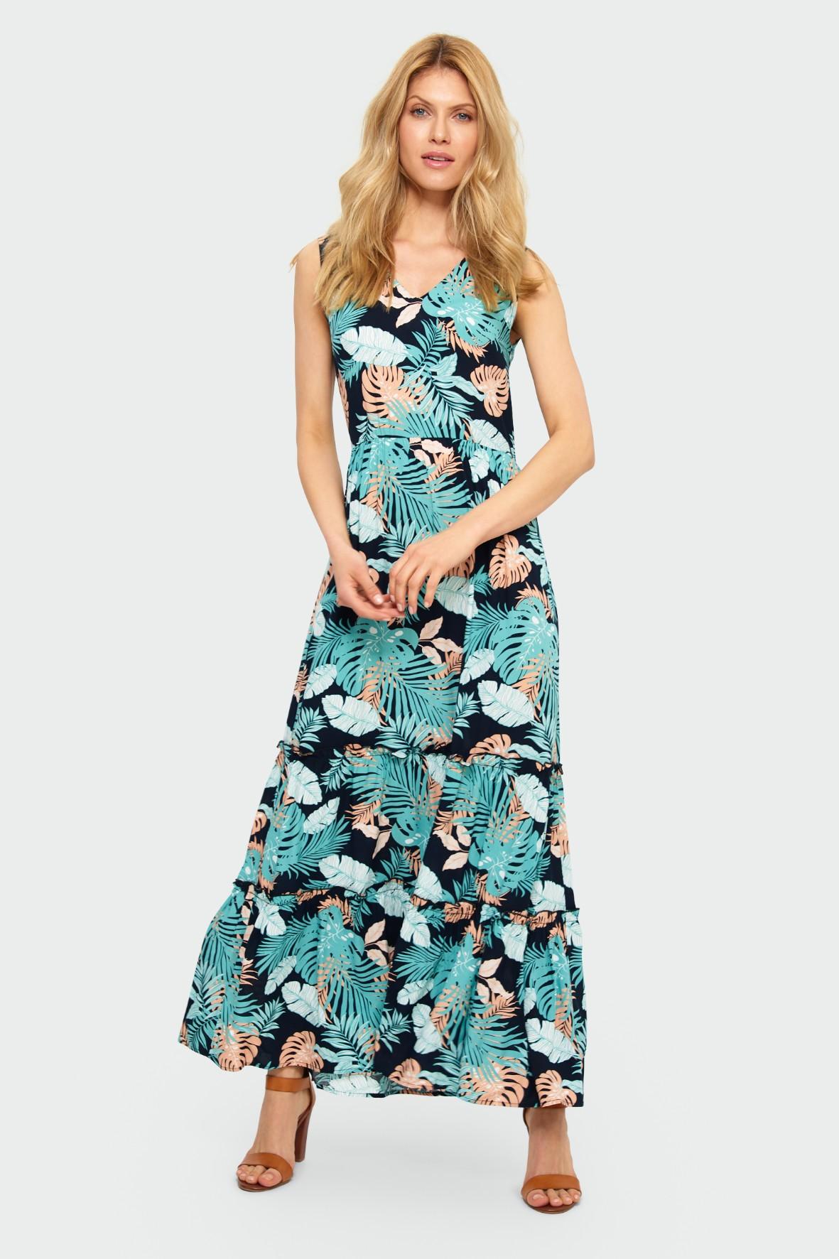 Długa czarna wiskozowa sukienka z roślinnym nadrukiem