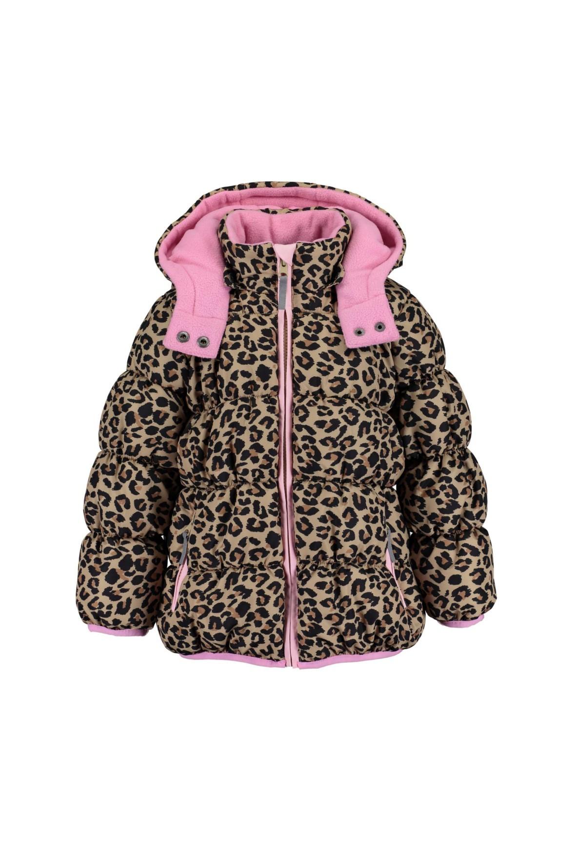 Kurtka dziewczęca w cętki i różowym kapturem i polarową podszewką