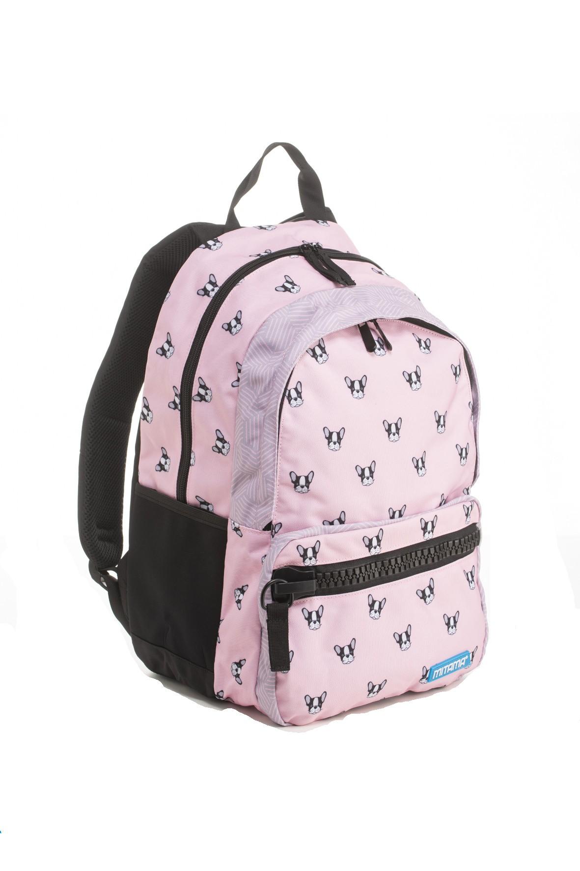 Plecak dziewczęcy szkolny  w pieski - różowy