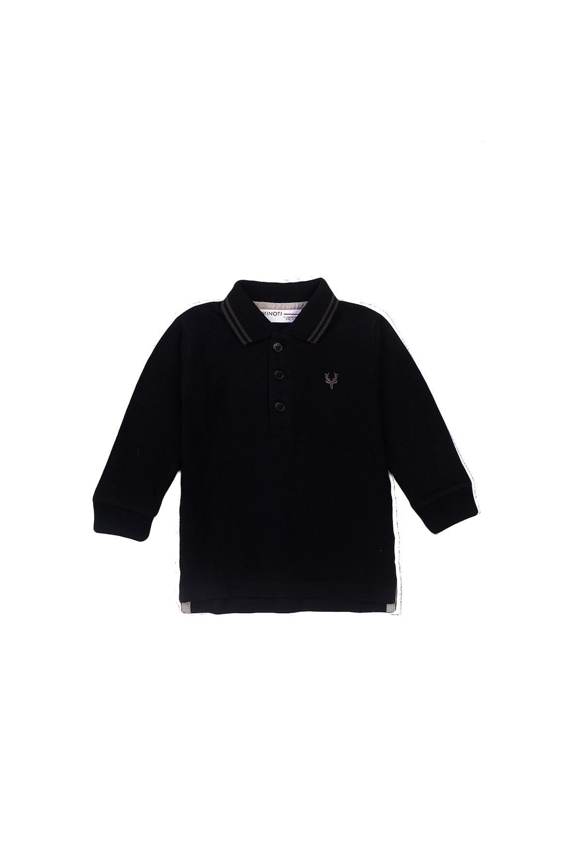 Bluzka chłopięca bawełniana z kołnierzykiem czarna
