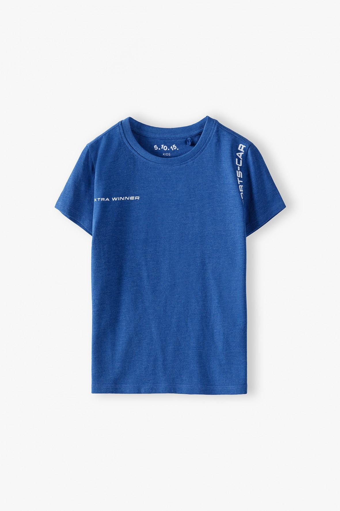 Niebieski t-shirt chłopięcy - bawełniany z nadrukiem