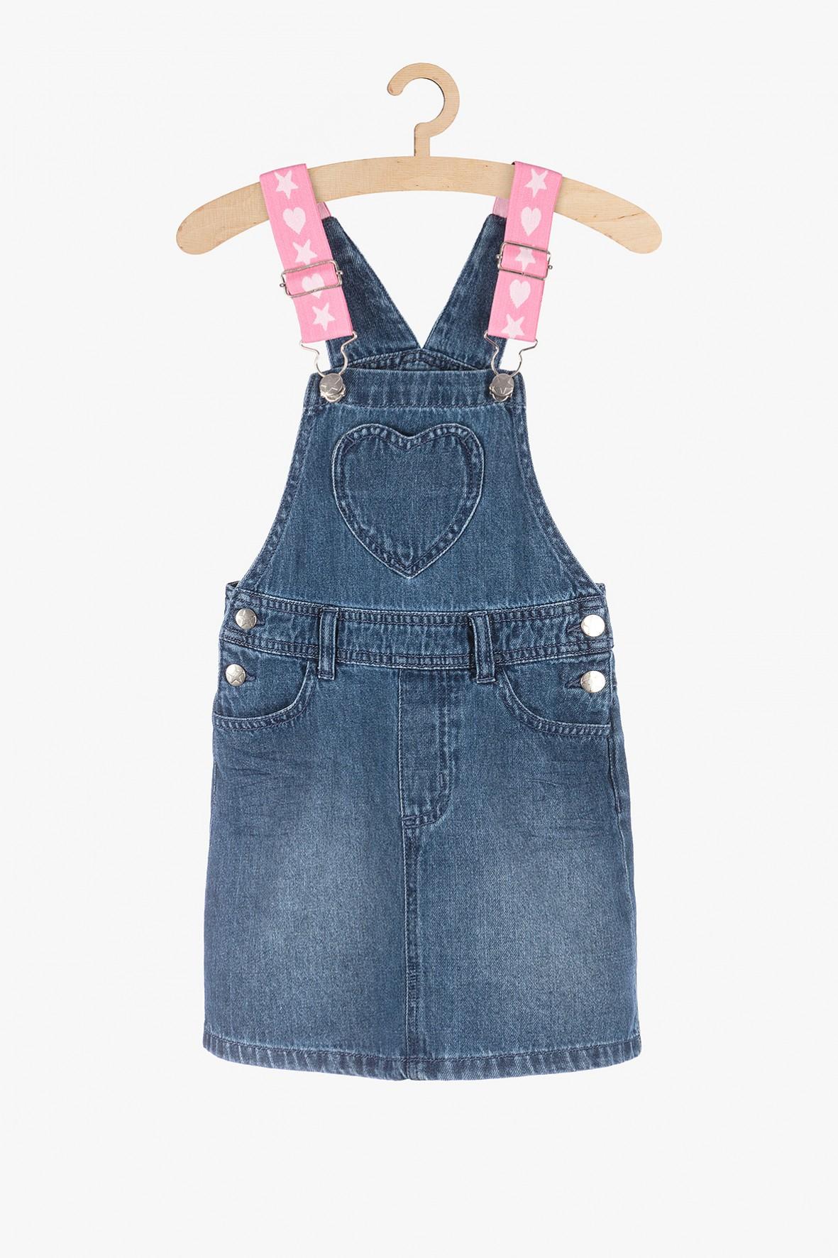 Jeansowa sukienka z szelkami- niebieska