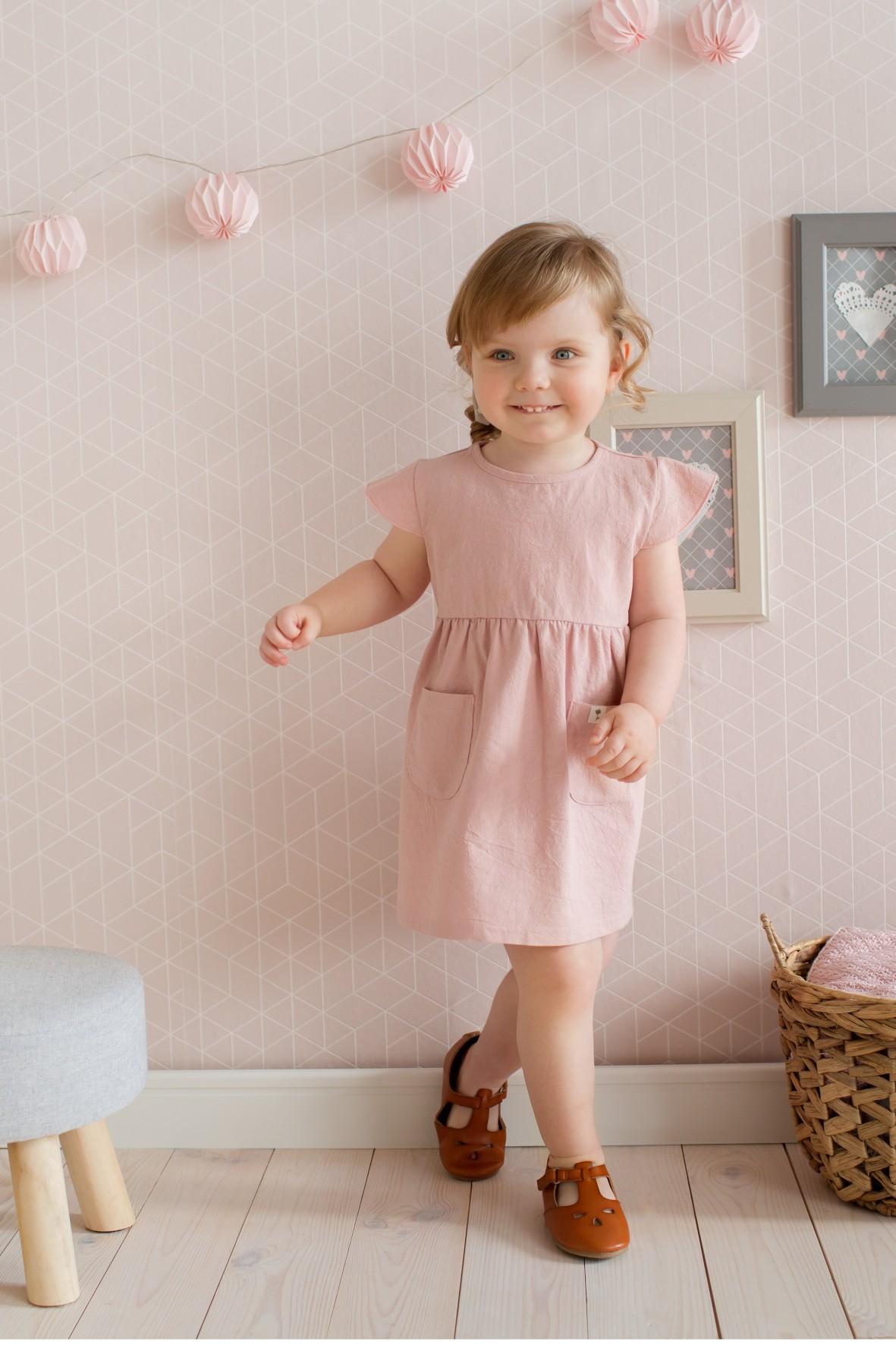Sukienka niemowlęca różowa z kieszonkami