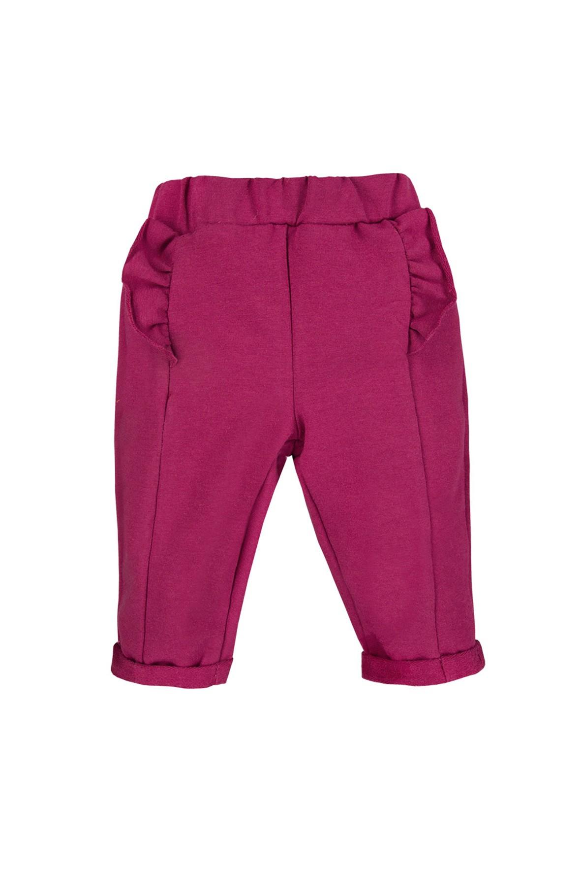 Bawełniane spodnie z falbanką - bordowy