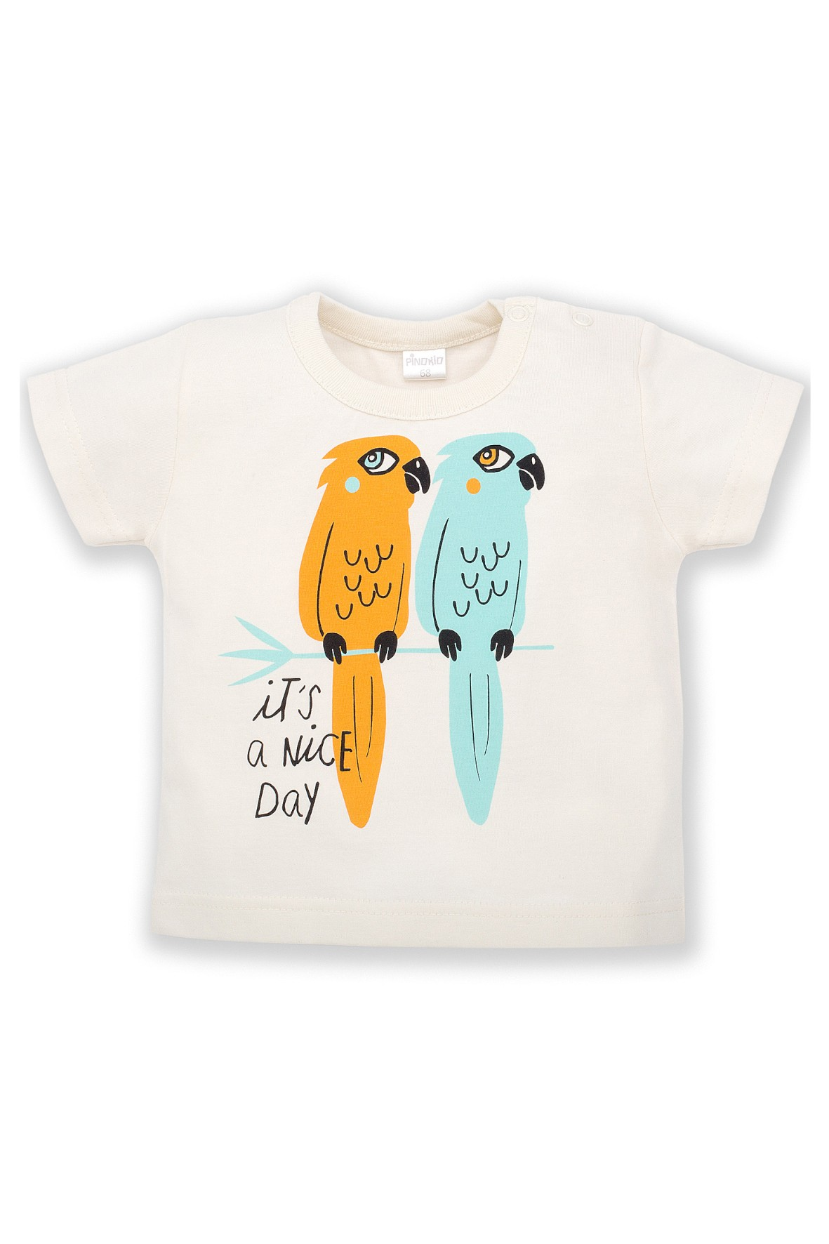 T-Shirt niemowlęcy ecru z nadrukiem