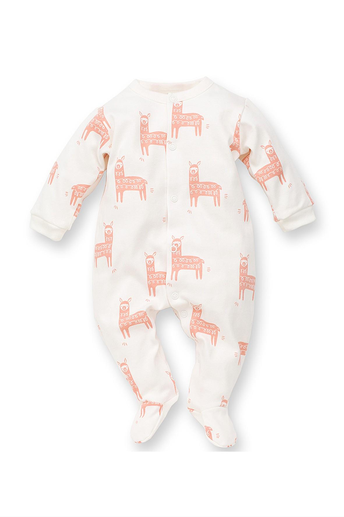 Pajac niemowlęcy biały w różowe lamy