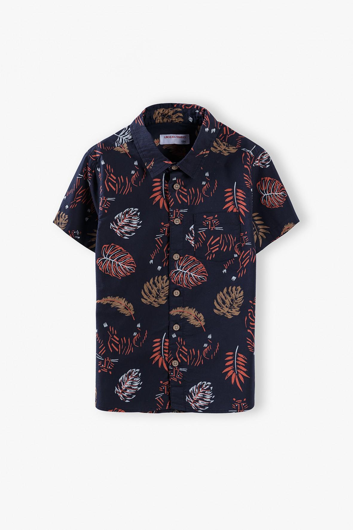 Koszula chłopięca czarna z krótkim rękawem w liście