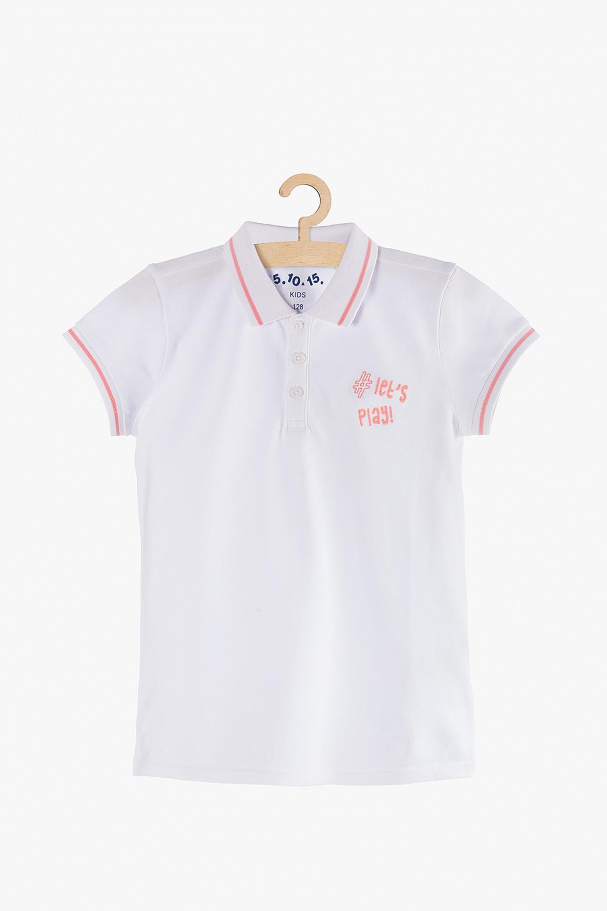 T-shirt dziewczęcy biały z kołnierzykiem