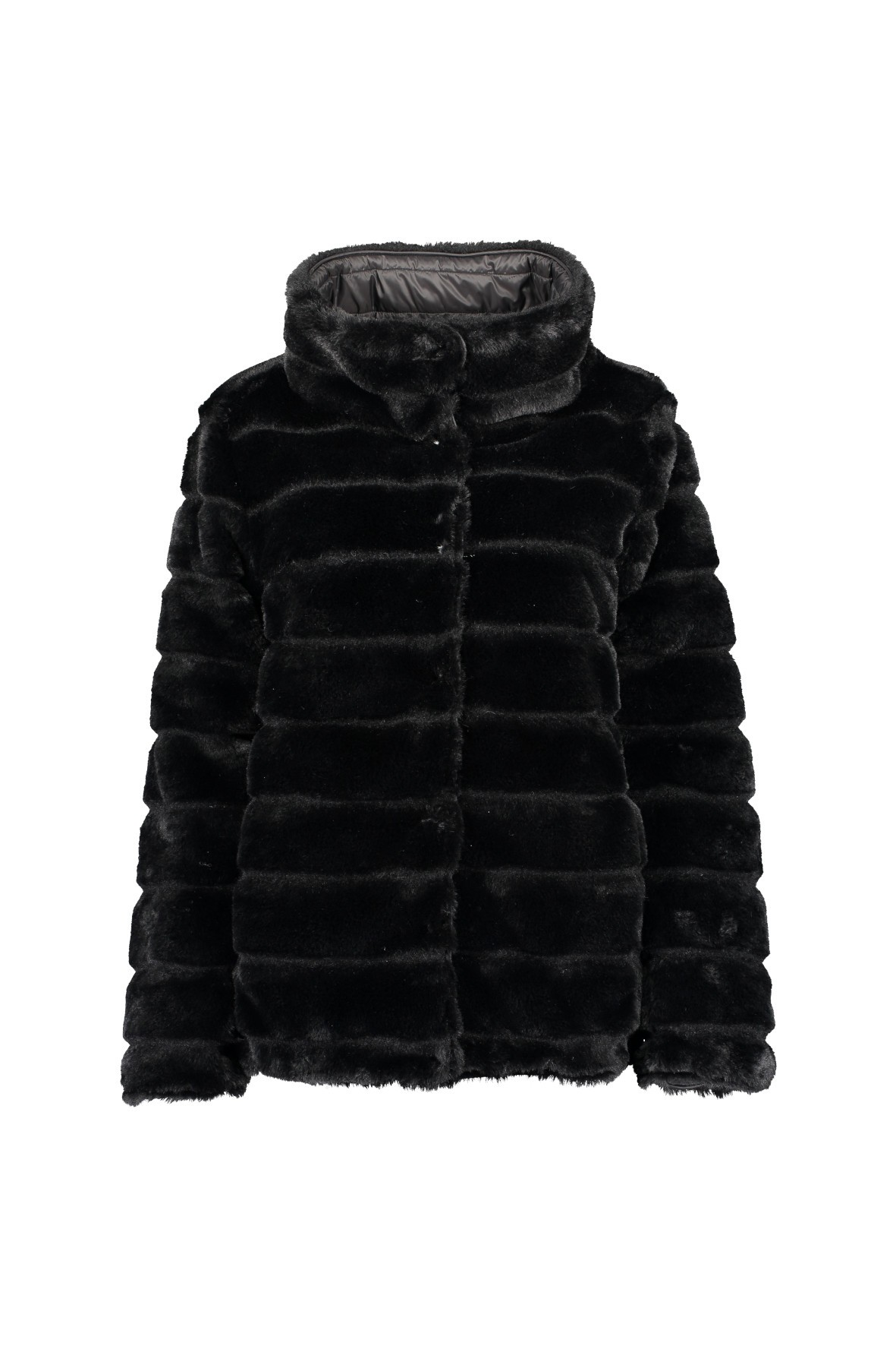 Damska kurtka ze sztucznego futra - czarna