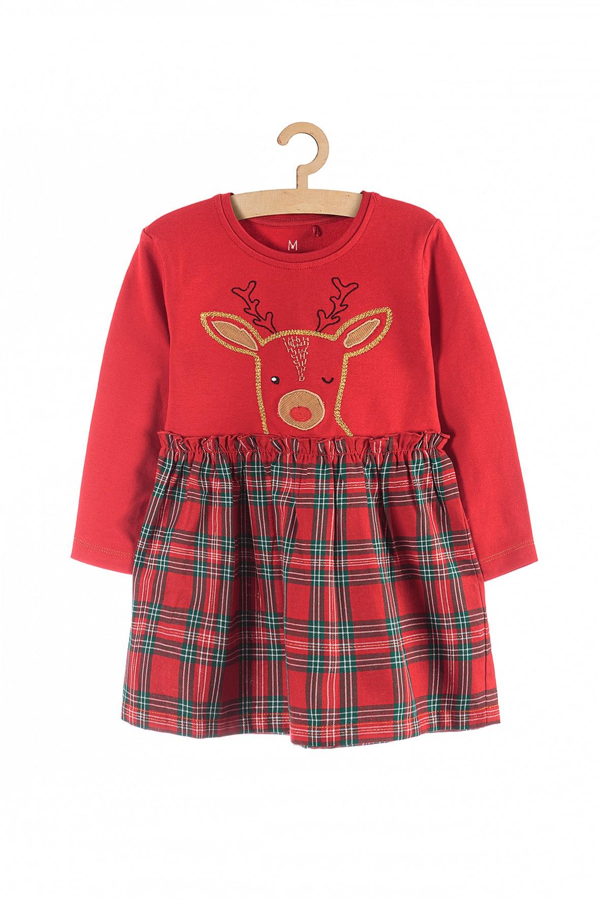 Sukienka świąteczna dla dziewczynki- czerwona z sarenką