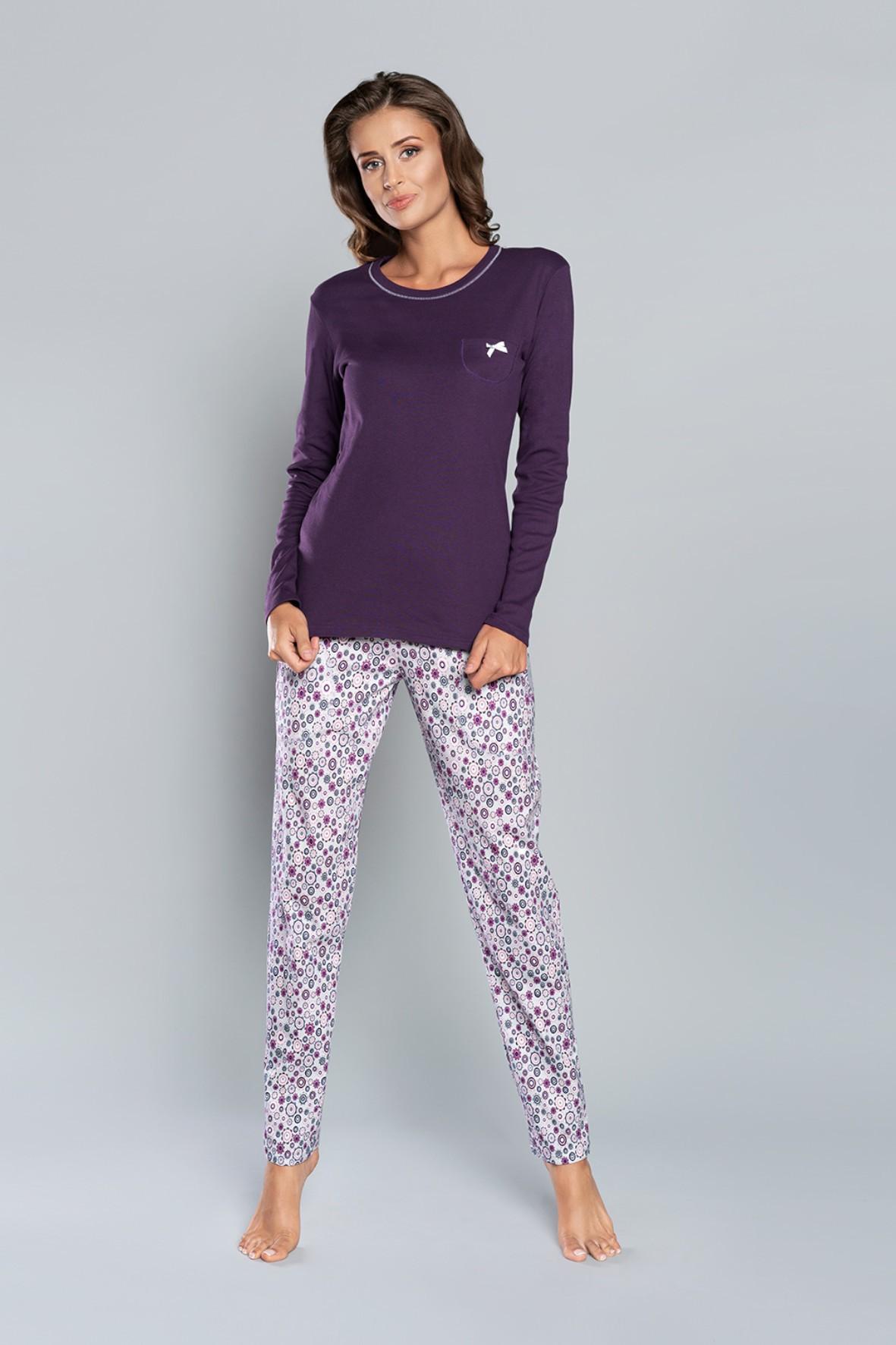 Piżama długi rękaw, długie spodnie - fioletowa