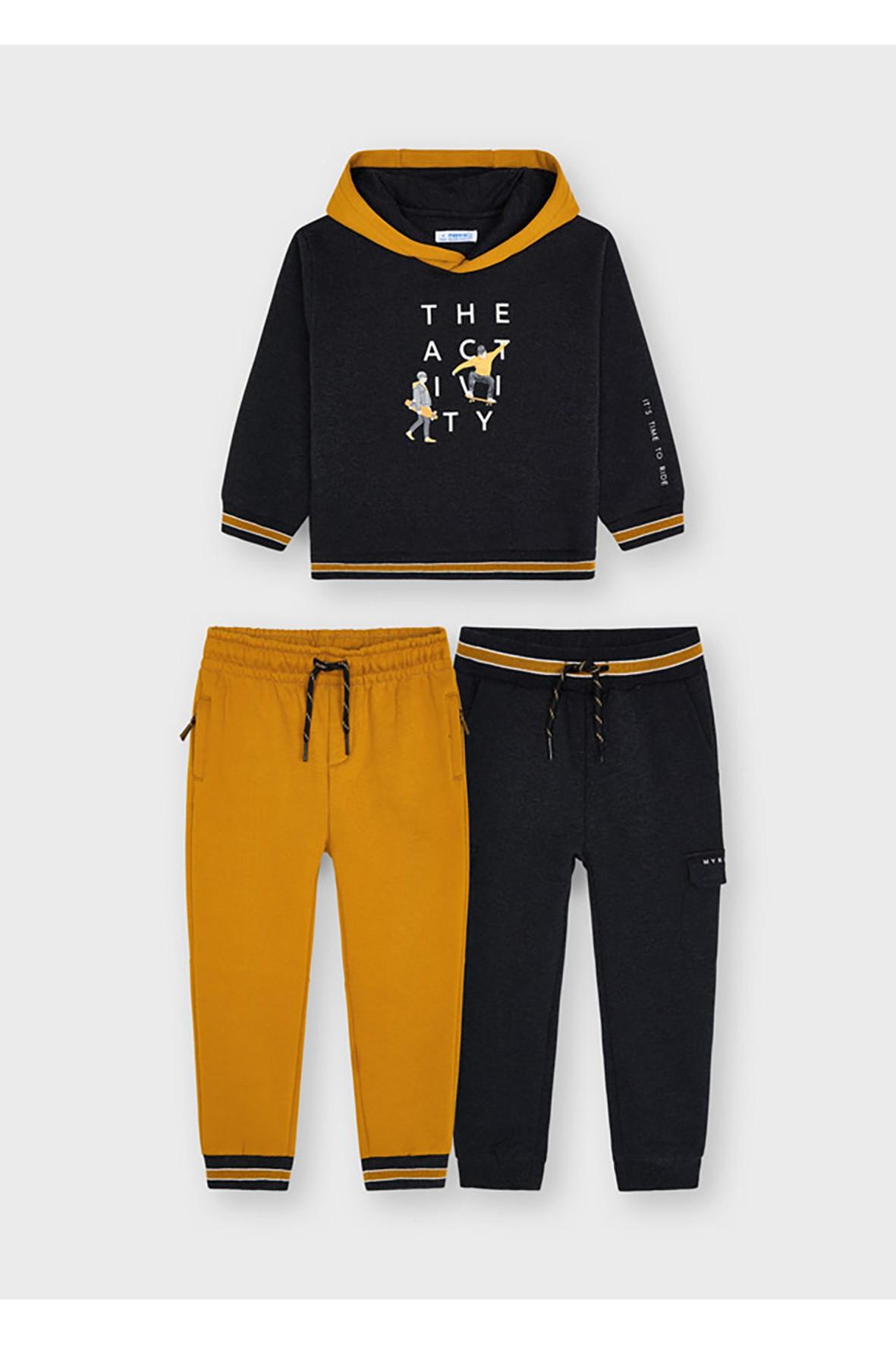 Dres chłopięcy - bluza z kapturem z nadrukiem  + 2 x spodnie dresowe z troczkami