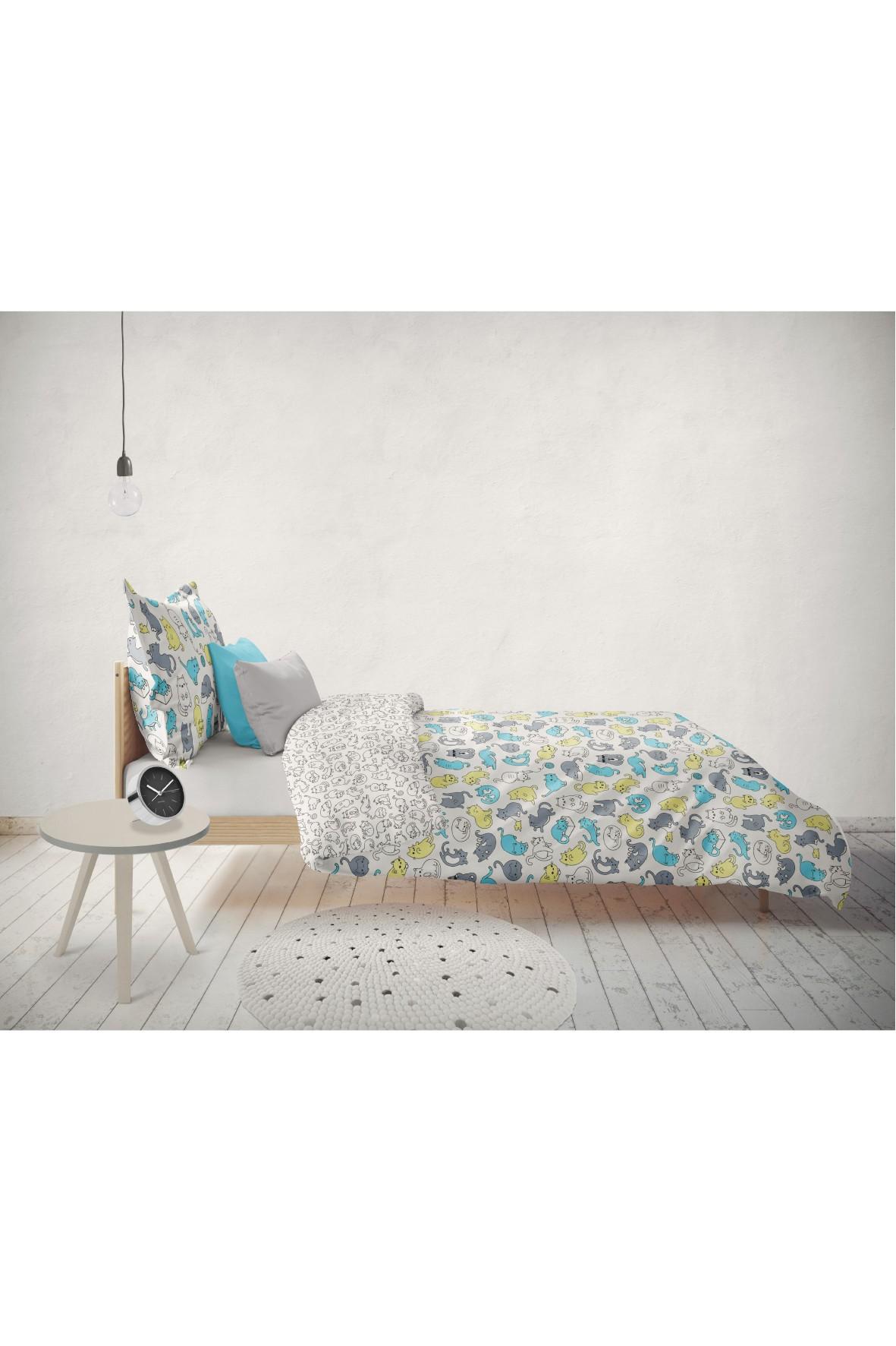 Komplet pościeli bawełnianej Koty 140x200+70x80 cm