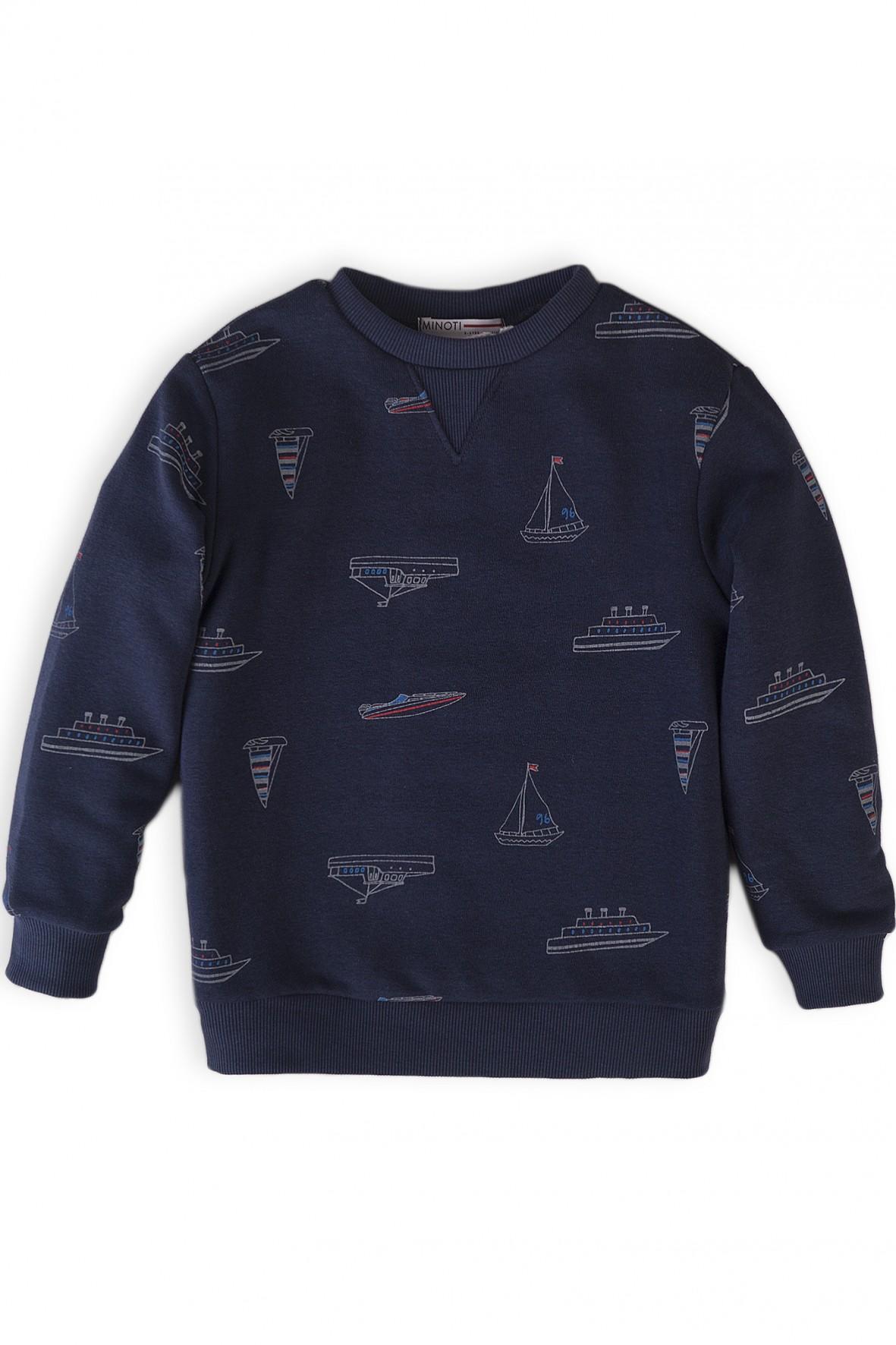 Granatowa bluza dresowa dla chłopca w łódki