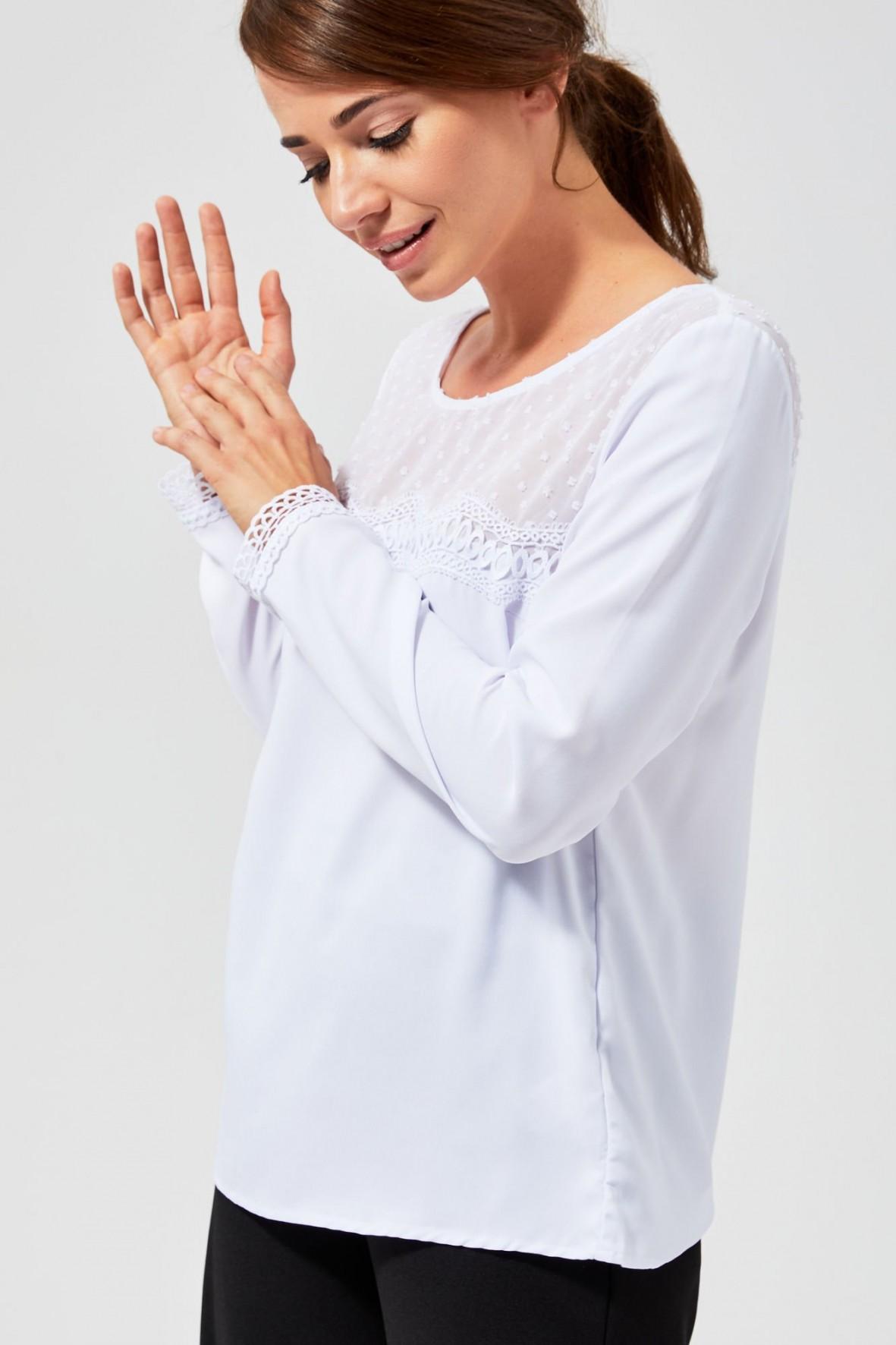 Bluzka damska z długim rękawem- biała