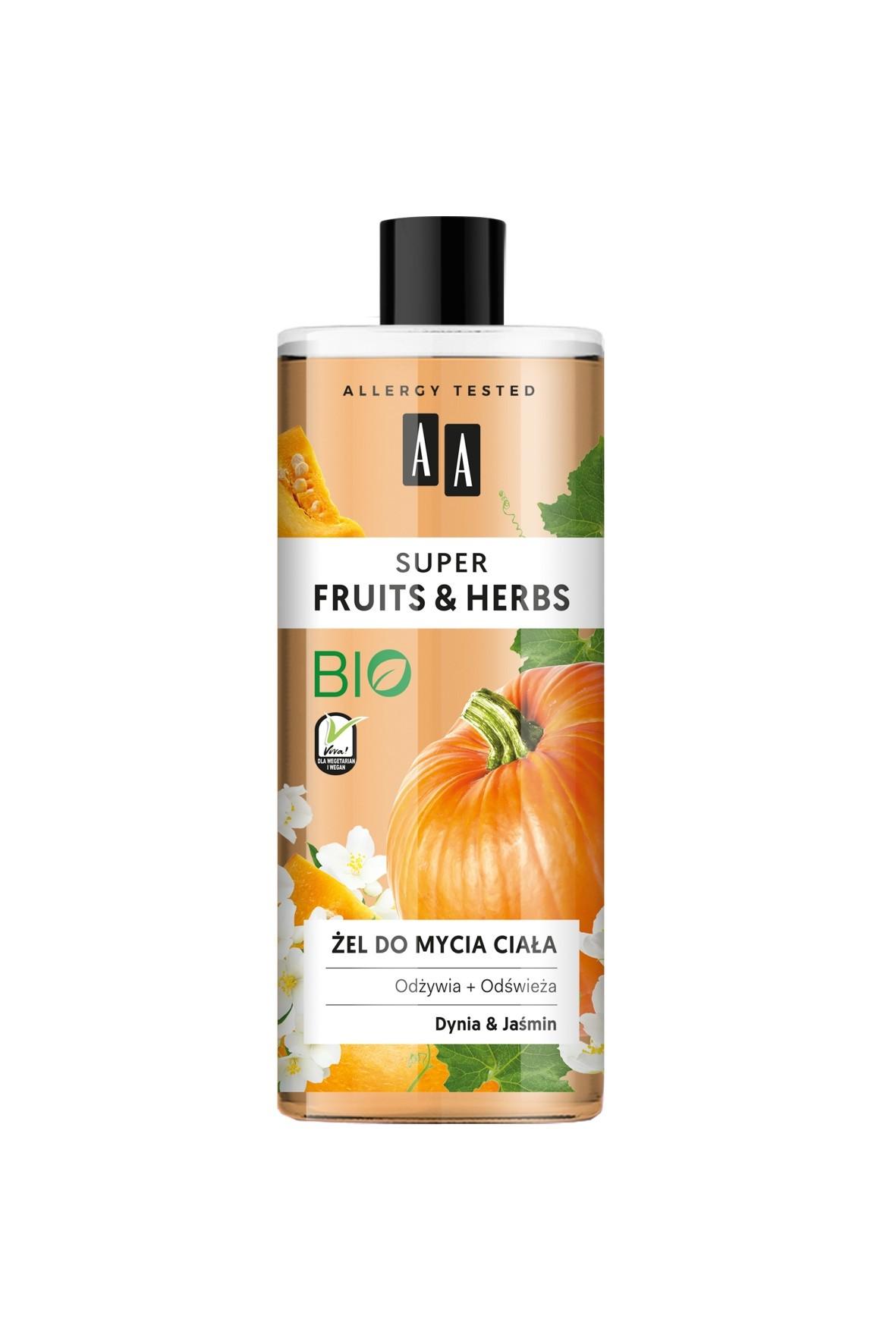 AA Super Fruits&Herbs żel do mycia ciała dynia&jaśmin 500 ml