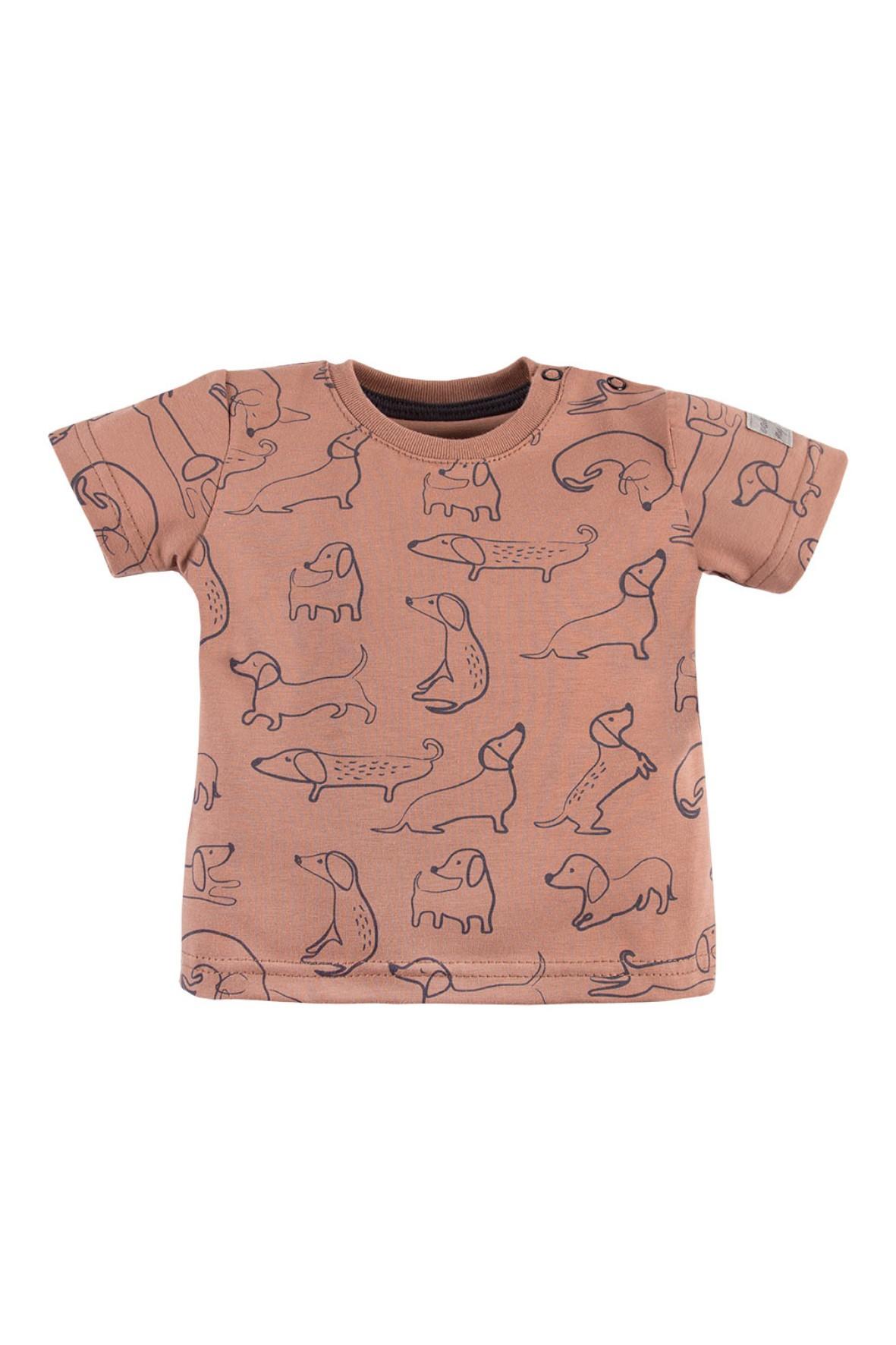 T-shirt LAZY DAYS brązowy w pieski
