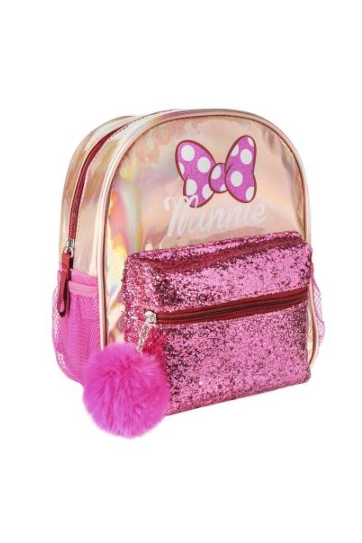 Plecak Fashion Minnie- różowy z brokatową kieszenią i wisiorkiem