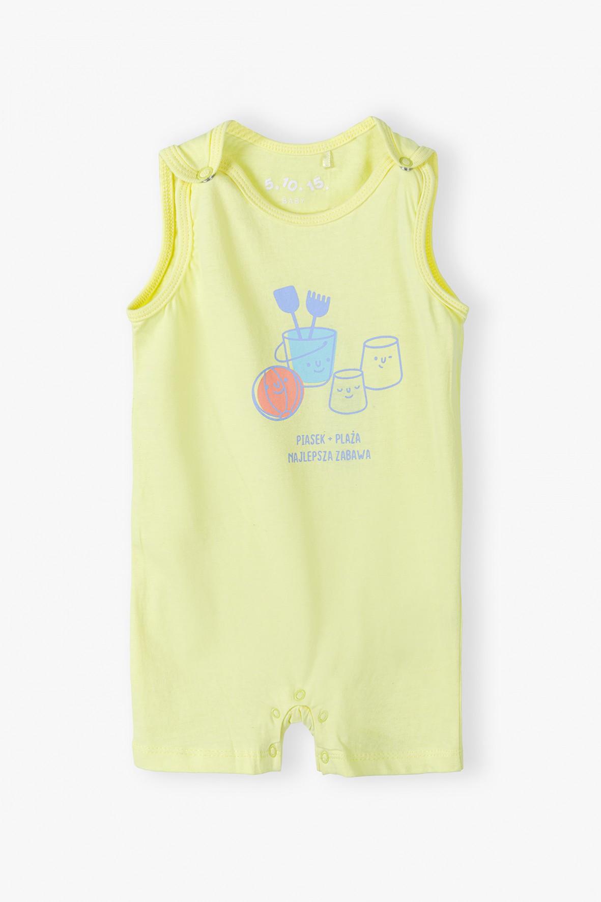 Żółty rampers niemowlęcy z nadrukiem